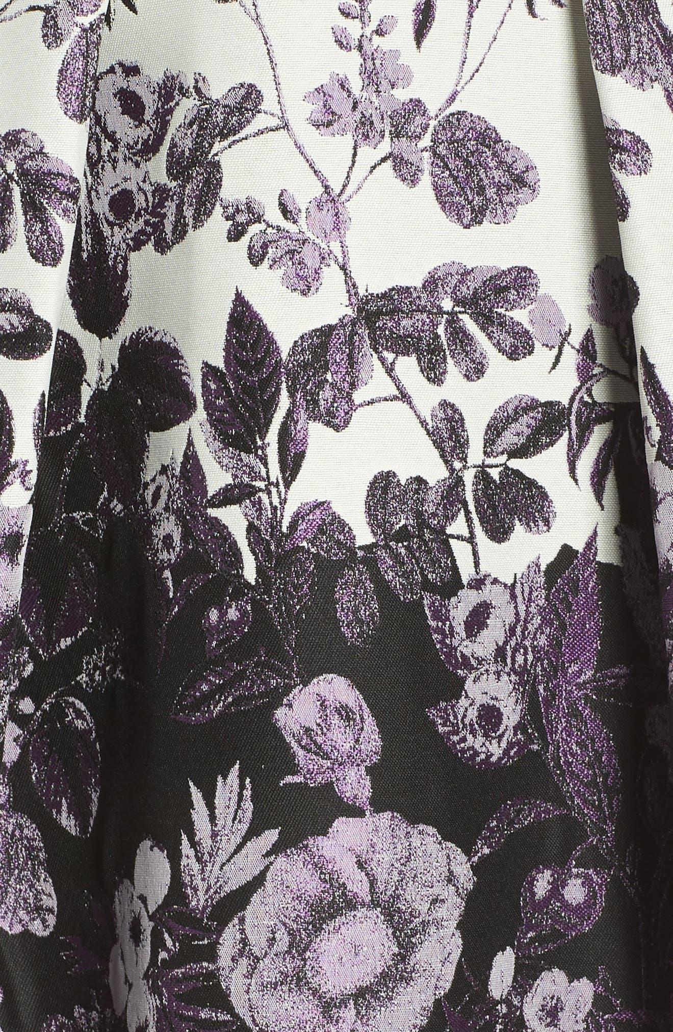 VINCE CAMUTO, Floral Jacquard Fit and Flare Dress, Alternate thumbnail 6, color, PURPLE MULTI