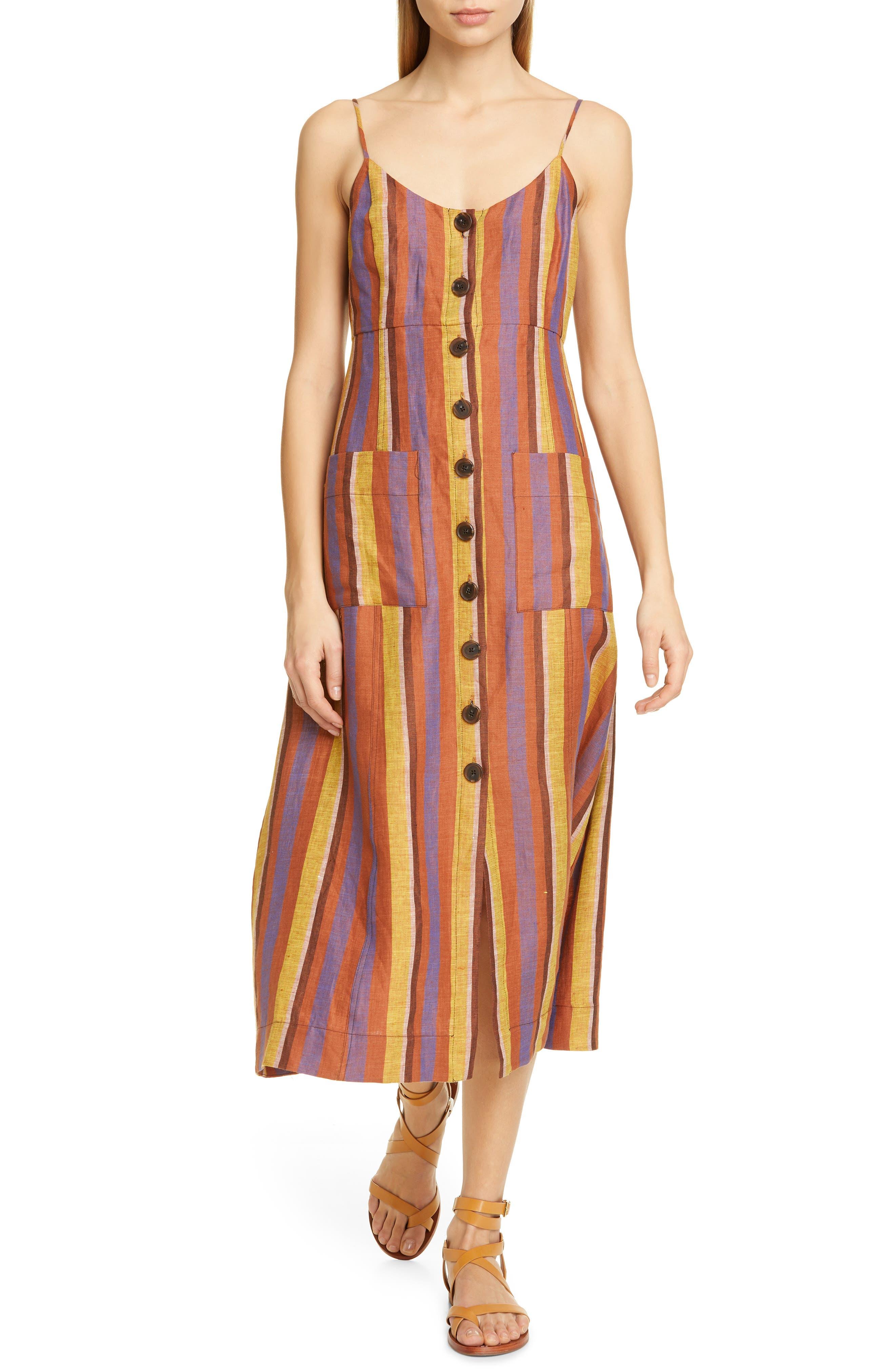 Sea Cici Stripe Linen Midi Dress, Brown