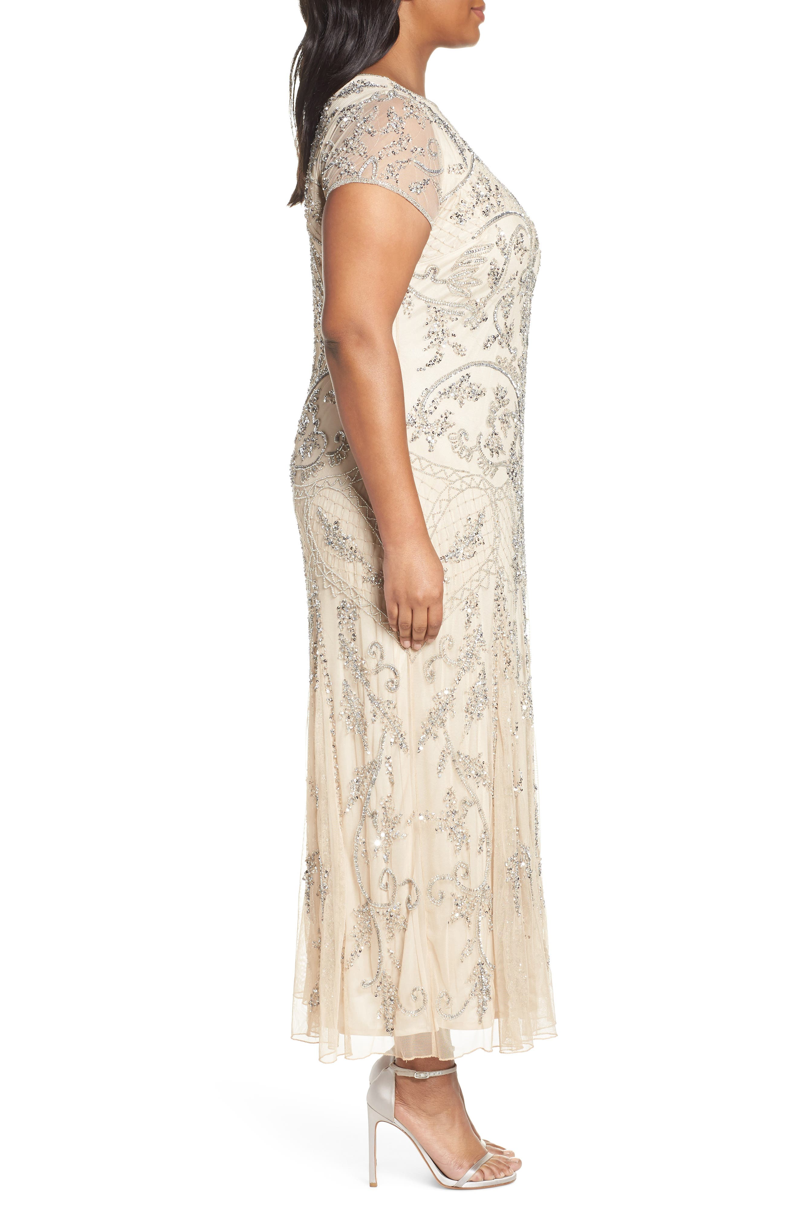 PISARRO NIGHTS, Beaded Short Sleeve Column Gown, Alternate thumbnail 4, color, CHAMPAGNE/ SILVER