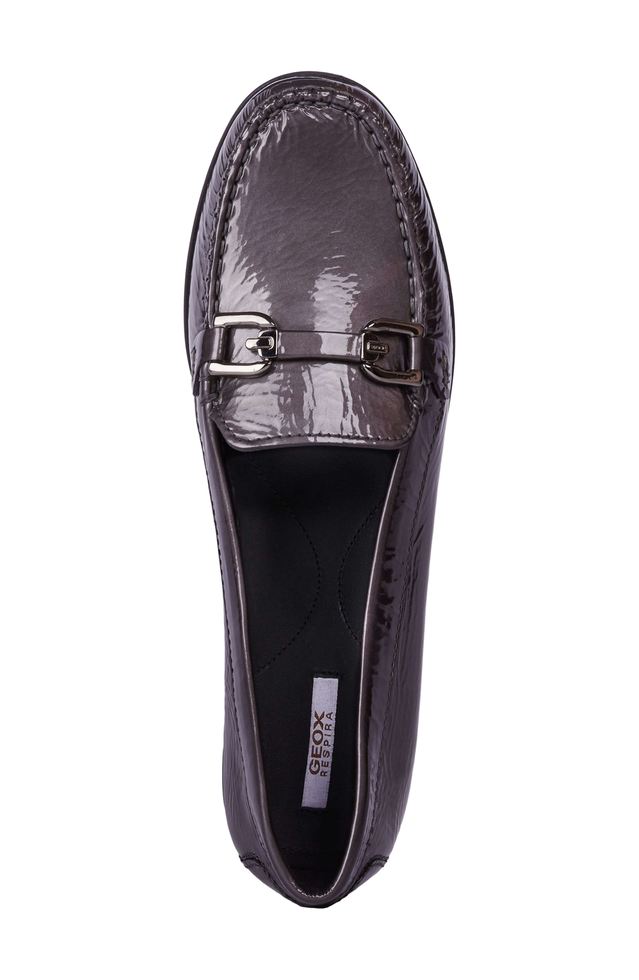 GEOX, Elidia Loafer, Alternate thumbnail 4, color, DARK GREY LEATHER