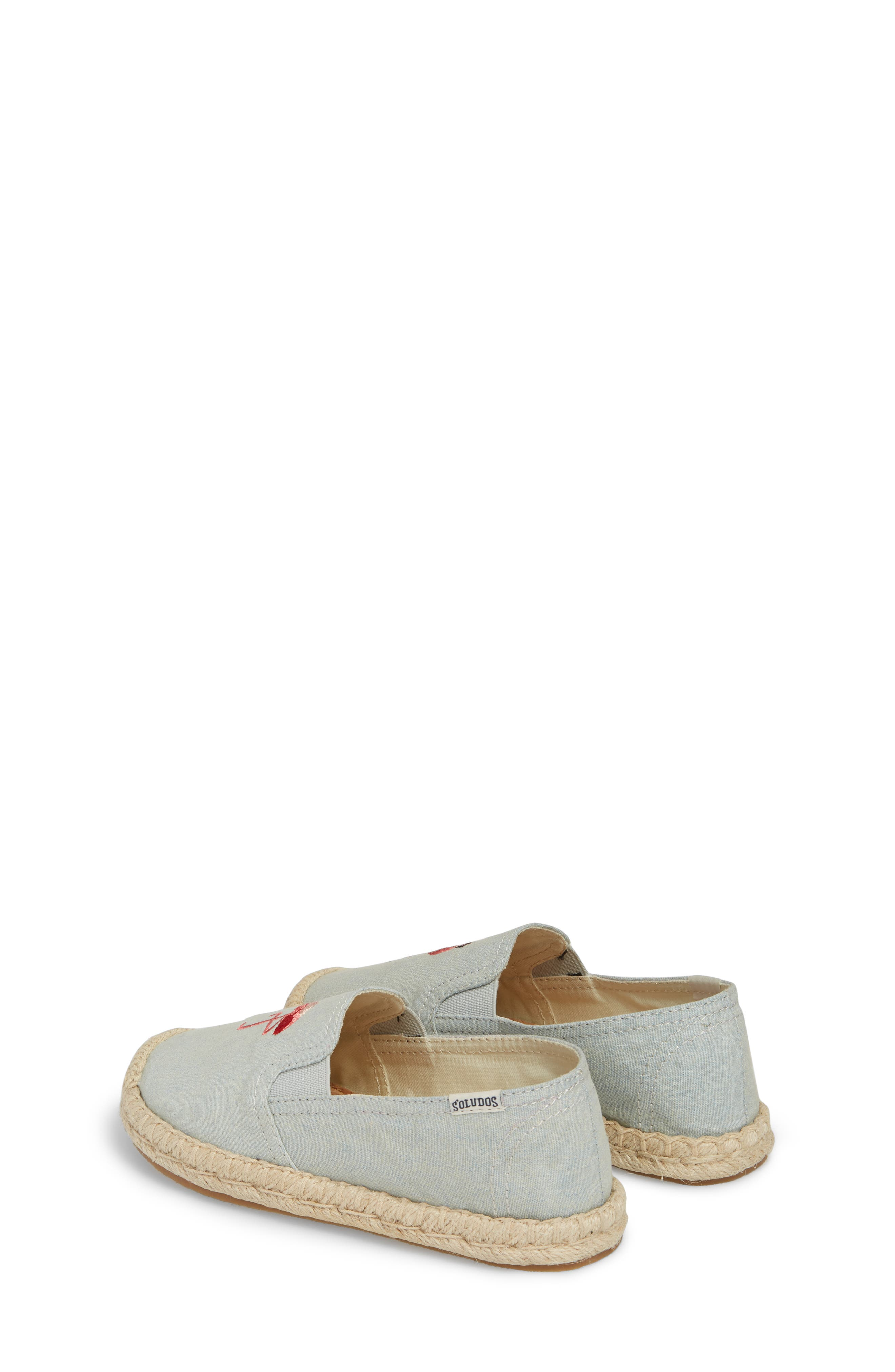 SOLUDOS, Flamingo Embroidered Espadrille, Alternate thumbnail 3, color, CHAMBRAY