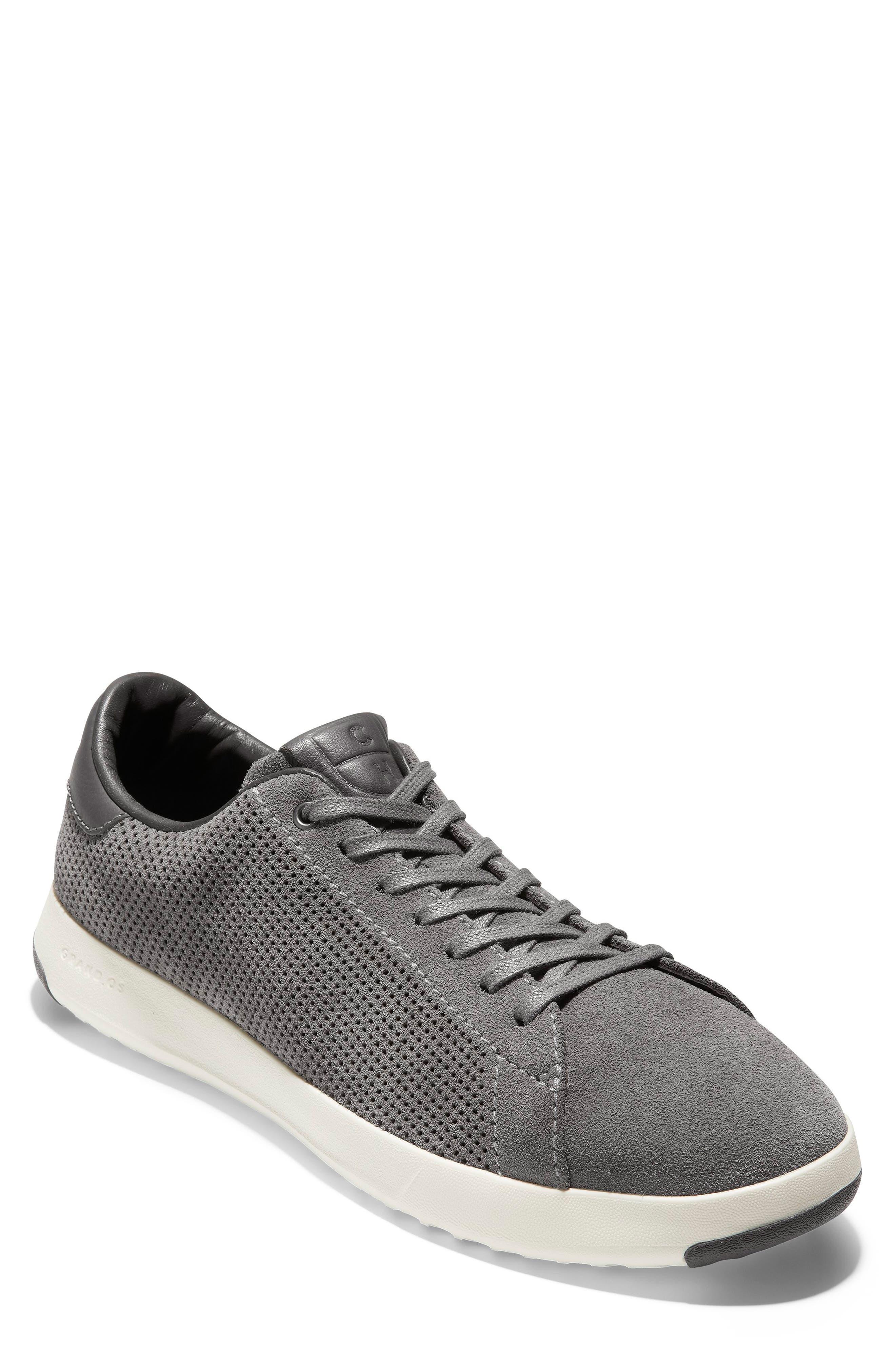 COLE HAAN, GrandPro Tennis Sneaker, Main thumbnail 1, color, GREY SUEDE