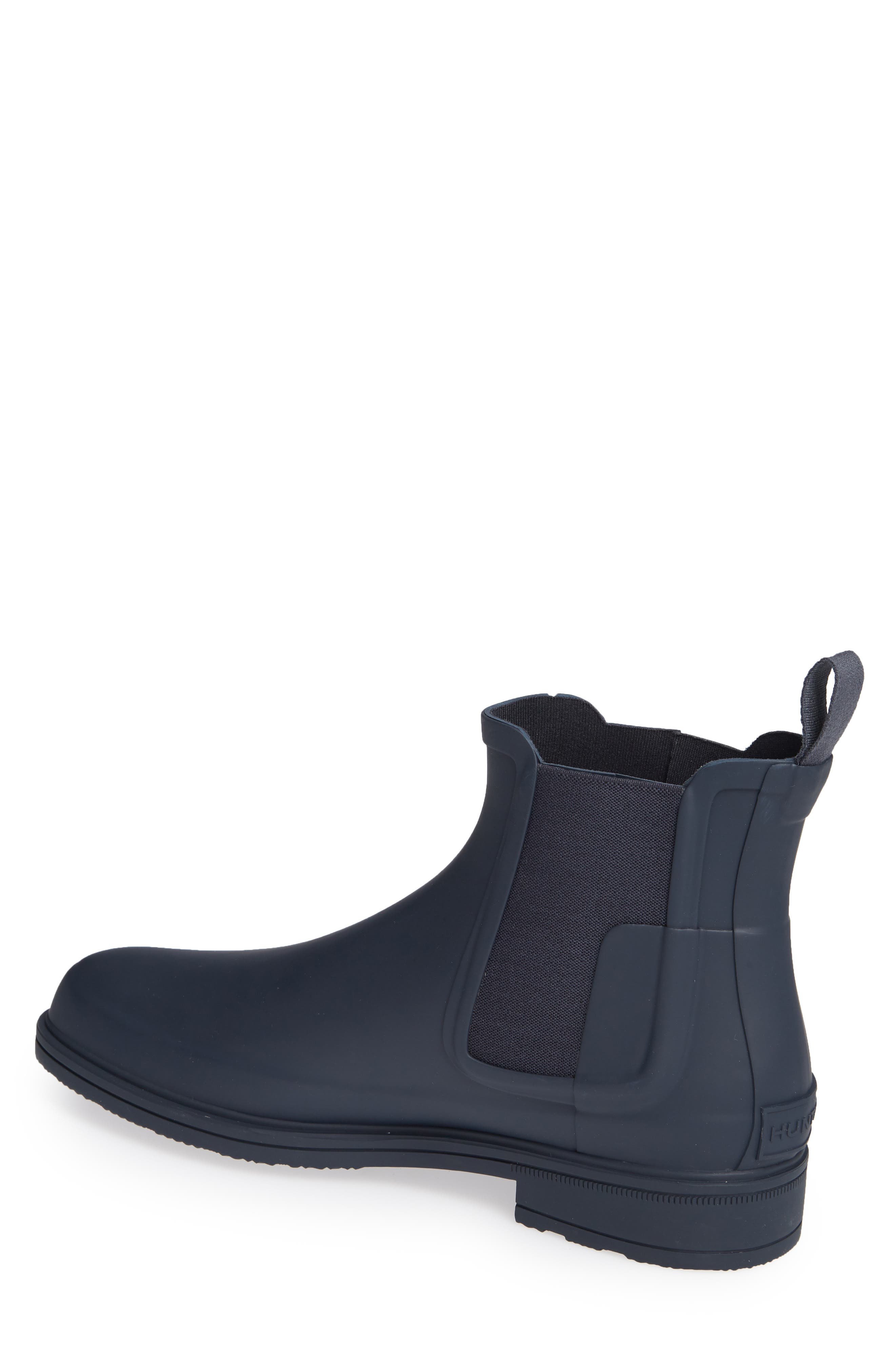 HUNTER, Original Refined Waterproof Chelsea Boot, Alternate thumbnail 2, color, NAVY RUBBER