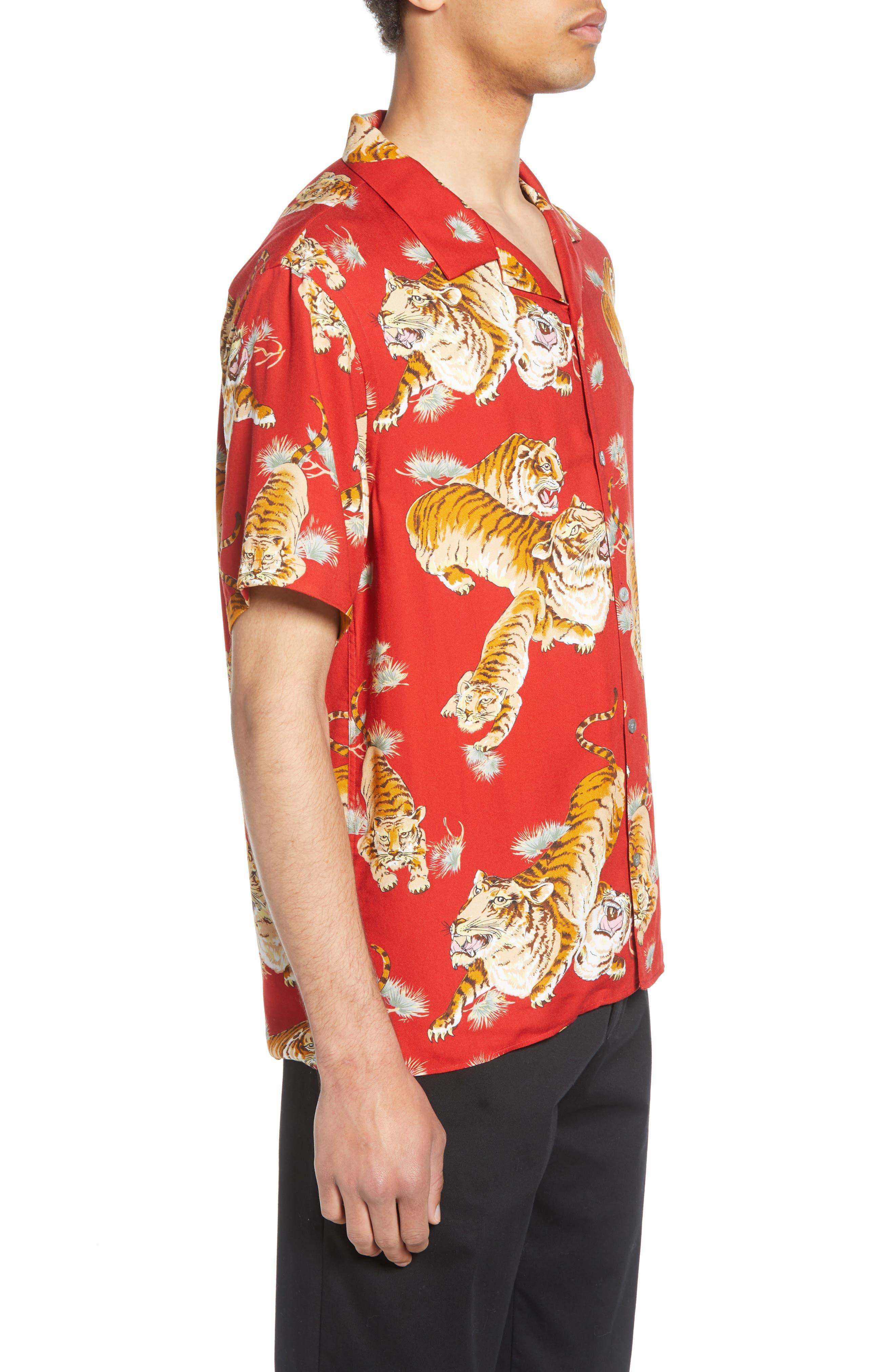 THE KOOPLES, Tiger Print Short Sleeve Camp Shirt, Alternate thumbnail 4, color, 250