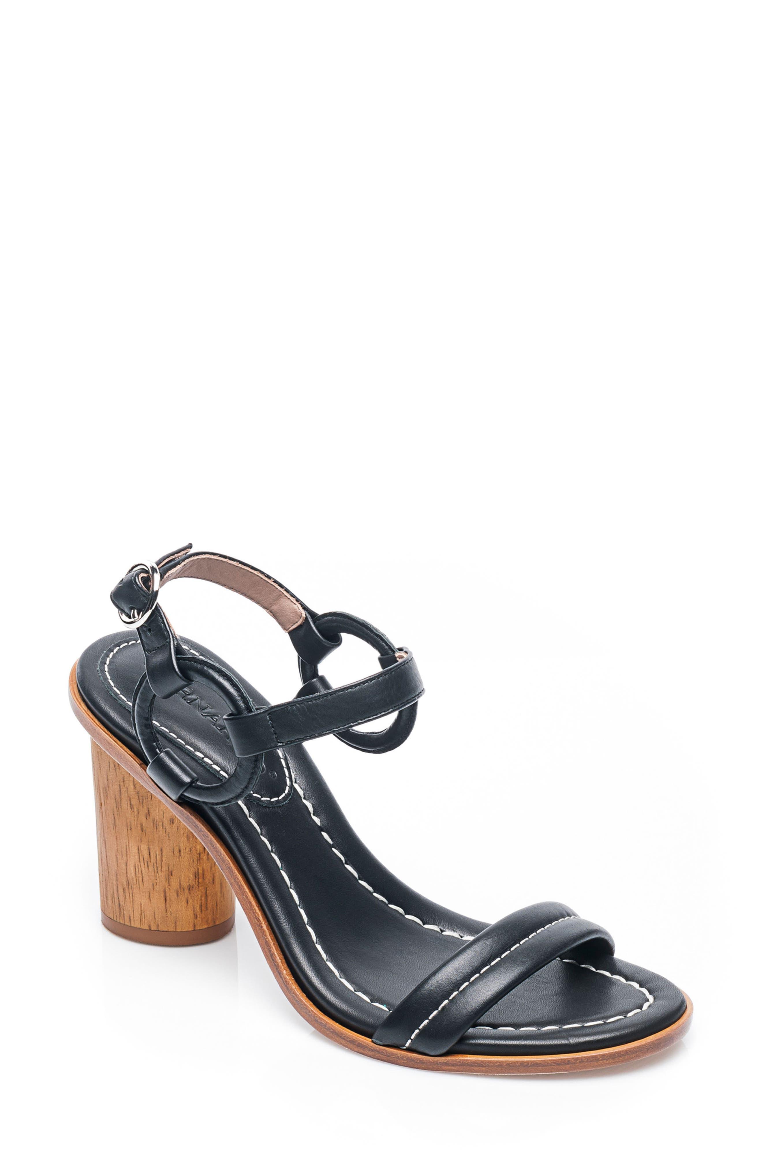 BERNARDO, Harlow Ankle Strap Sandal, Main thumbnail 1, color, BLACK LEATHER