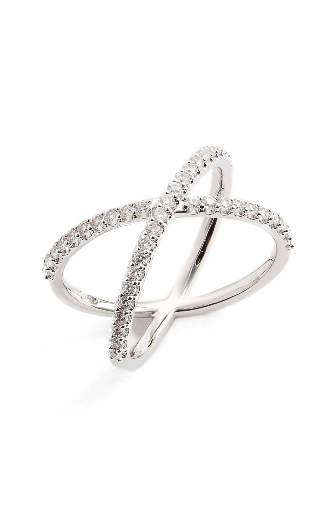 NADRI, Crossover Cubic Zirconia Ring, Main thumbnail 1, color, 040