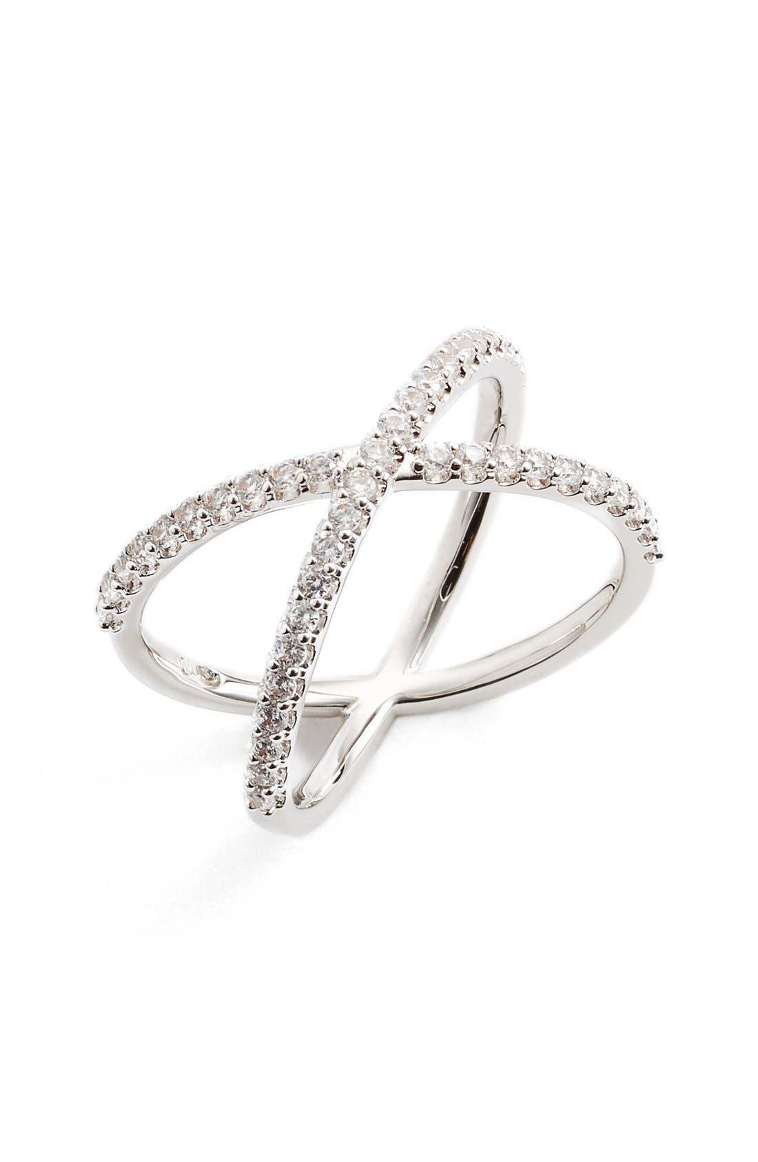 NADRI Crossover Cubic Zirconia Ring, Main, color, 040