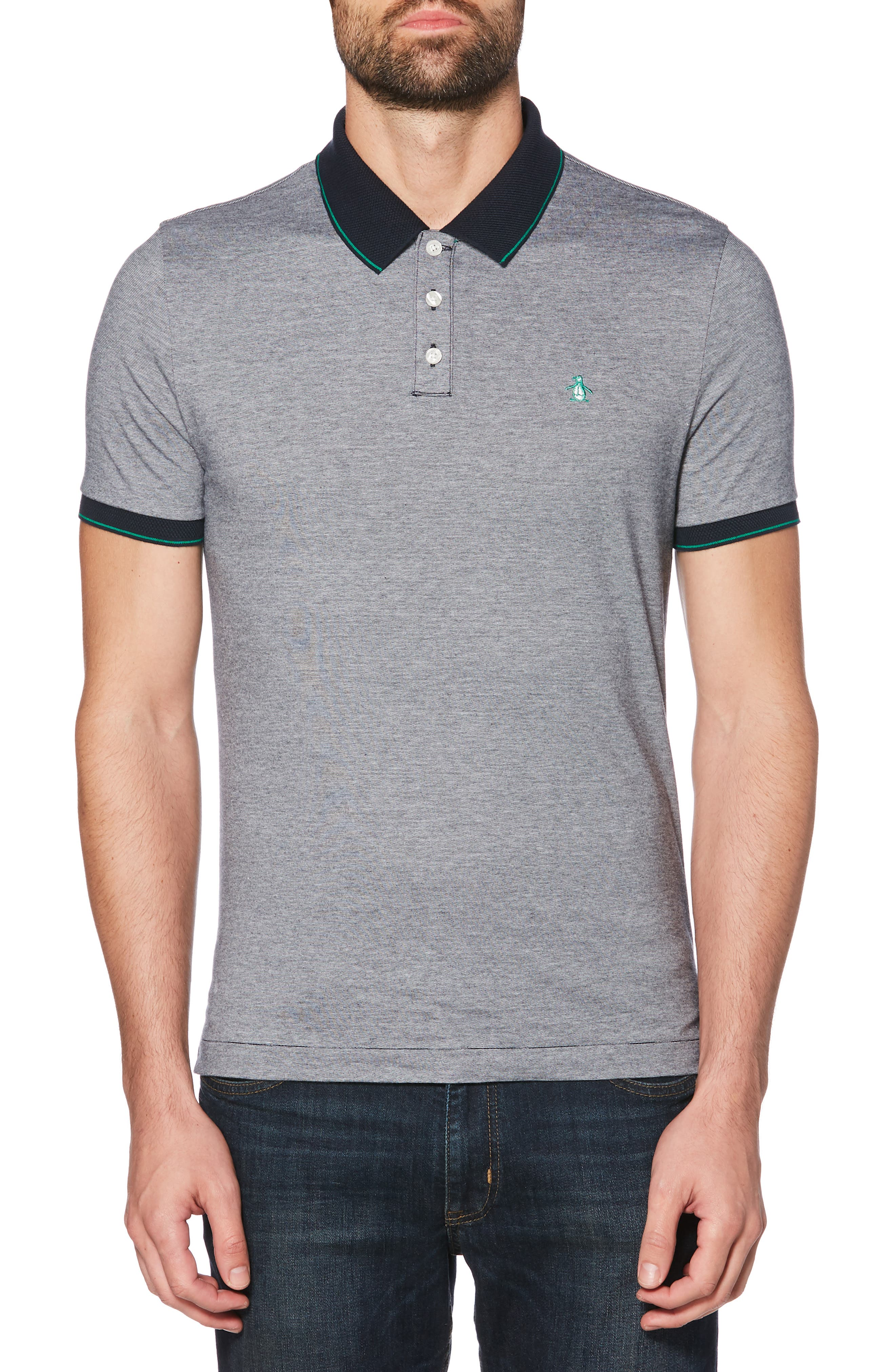 ORIGINAL PENGUIN, Feeder Stripe Polo, Main thumbnail 1, color, DARK SAPPHIRE