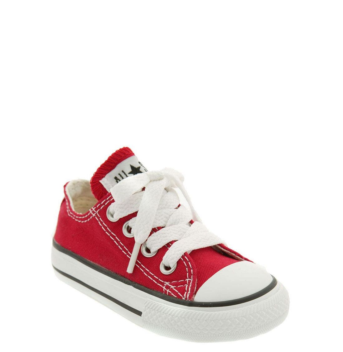 CONVERSE, Chuck Taylor<sup>®</sup> Low Top Sneaker, Main thumbnail 1, color, RED