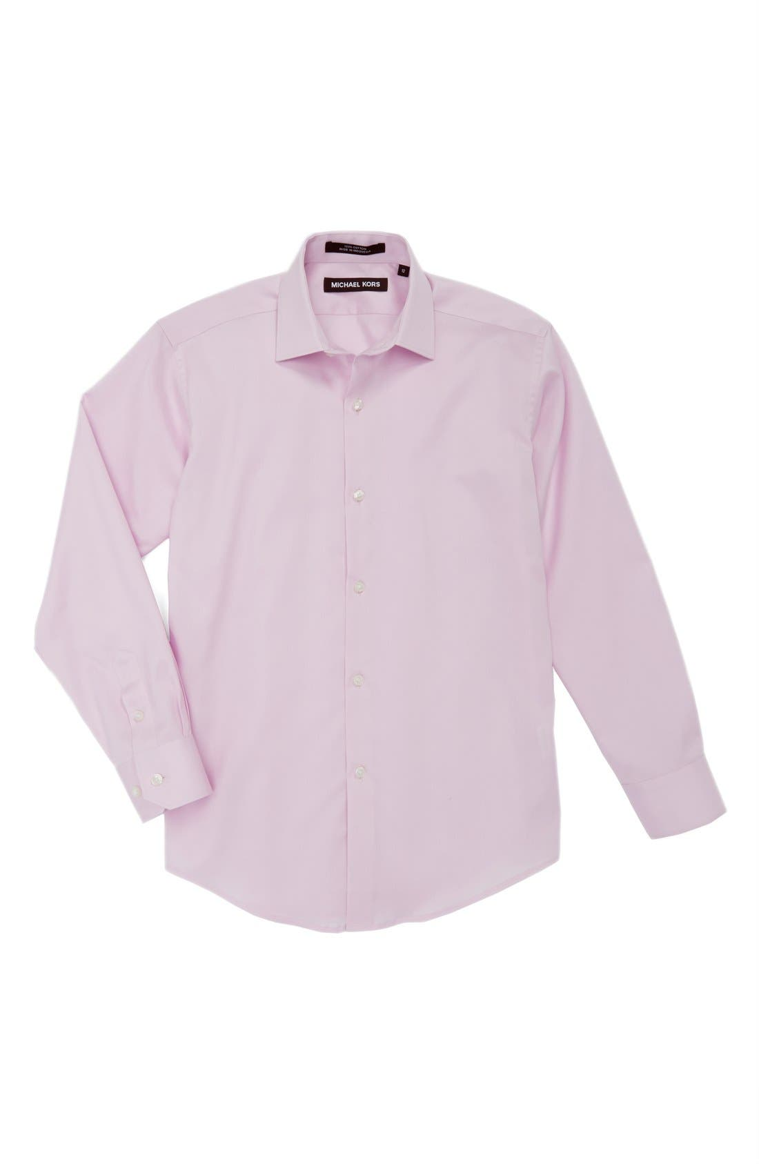MICHAEL KORS Woven Cotton Dress Shirt, Main, color, ROSE