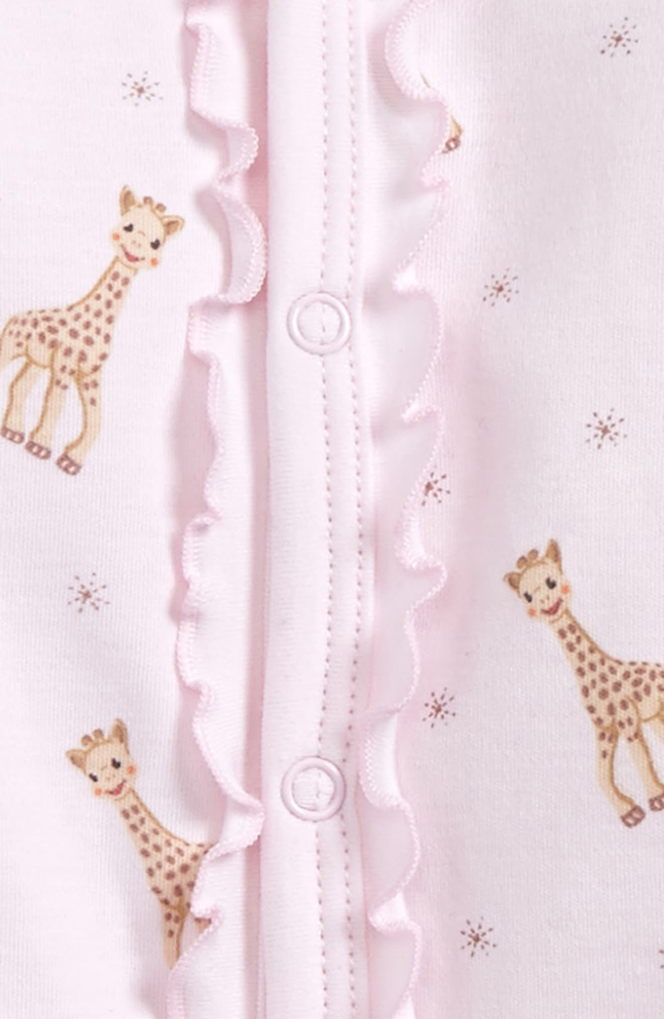 KISSY KISSY, x Sophie la Girafe Print Footie, Alternate thumbnail 2, color, PINK PRINT
