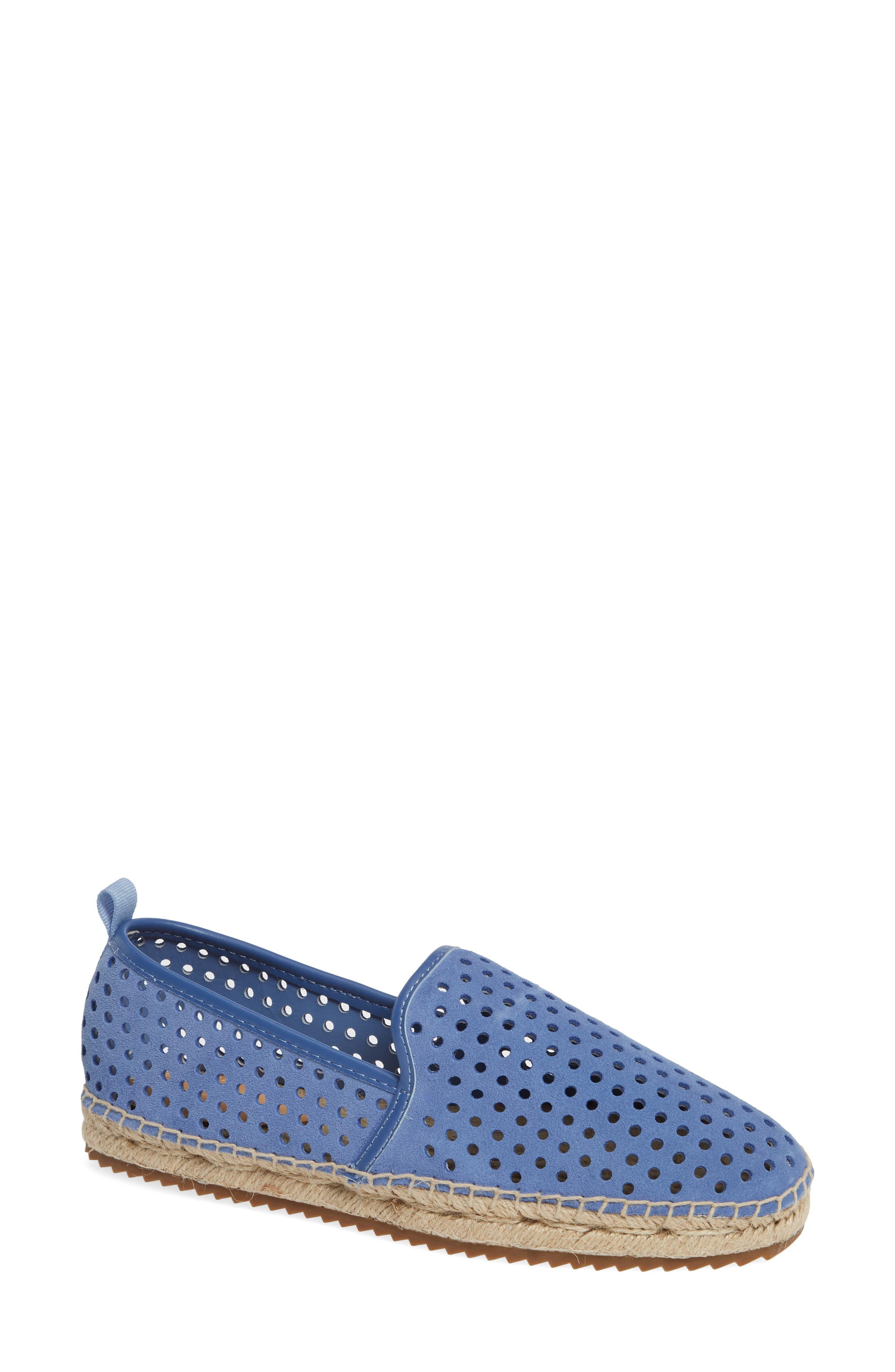Bill Blass Sutton Perforated Espadrille Flat- Blue