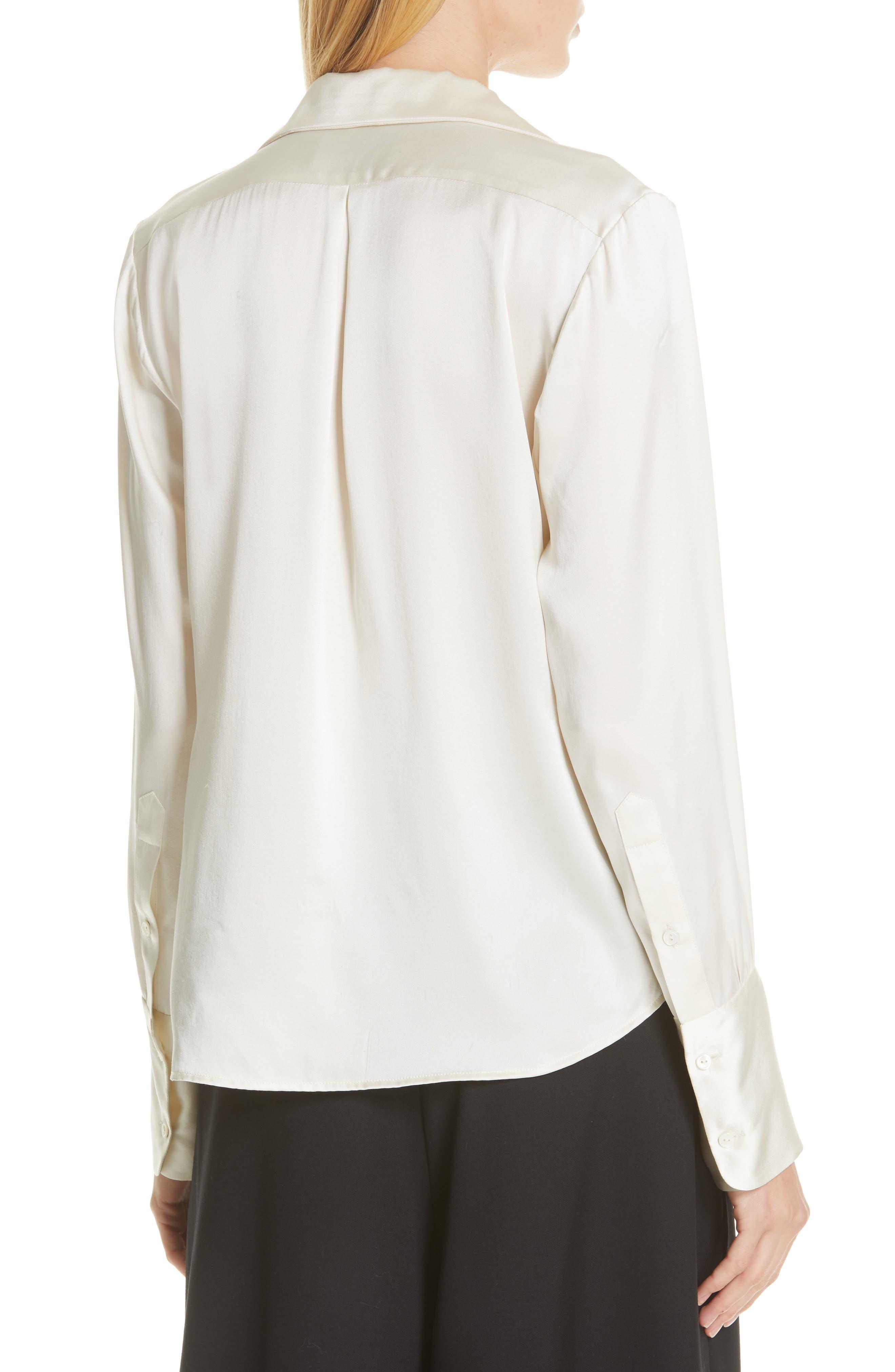NILI LOTAN, Emmen Silk Shirt, Alternate thumbnail 2, color, IVORY