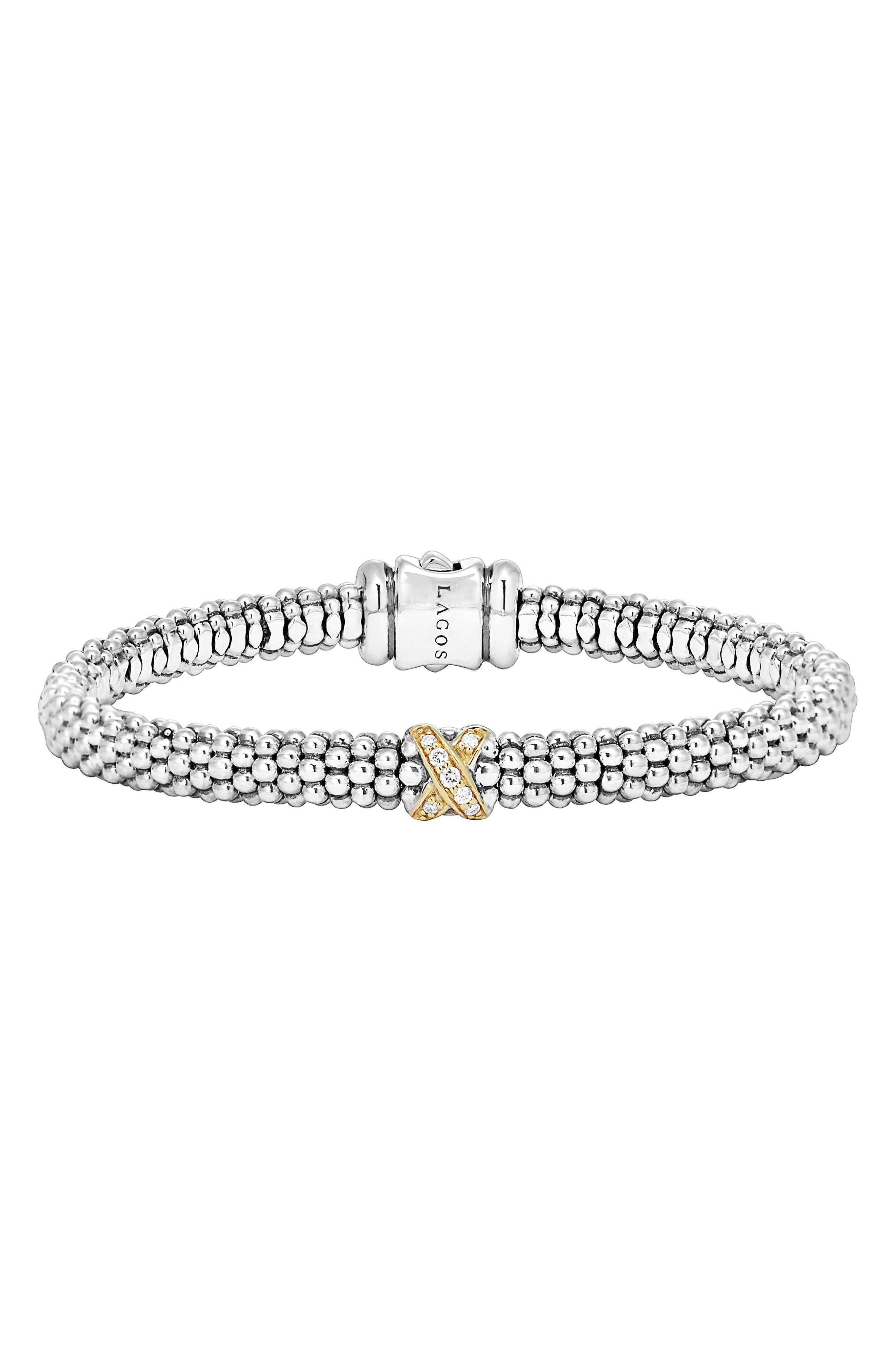 LAGOS, Caviar 'Signature Caviar' Diamond Rope Bracelet, Alternate thumbnail 6, color, STERLING SILVER/ GOLD