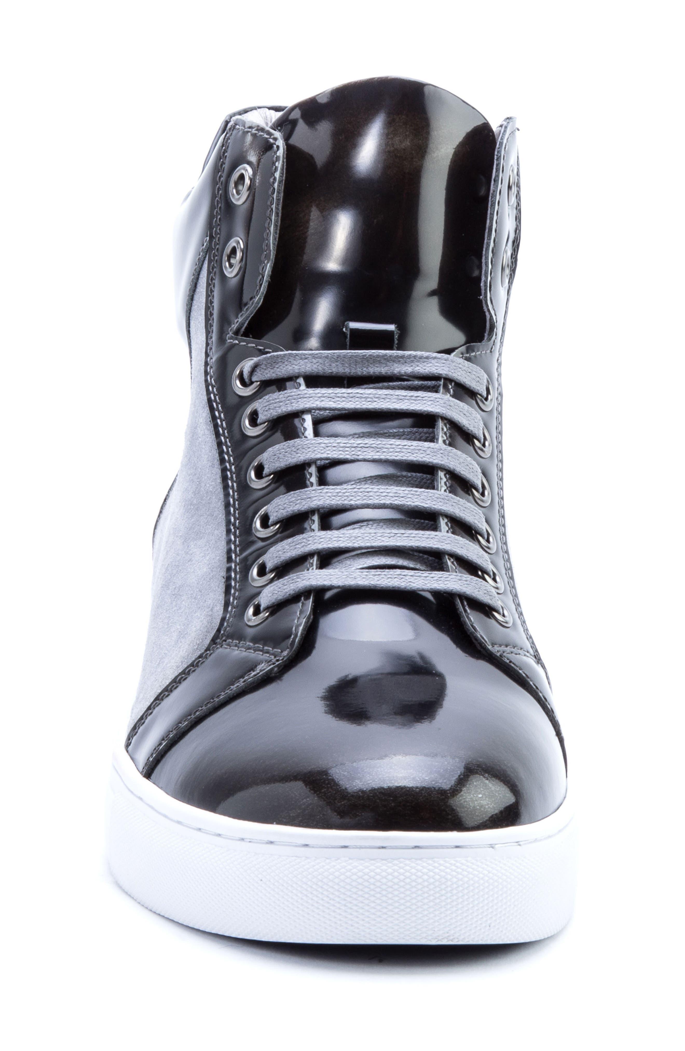 BADGLEY MISCHKA COLLECTION, Badgley Mischka Douglas High Top Sneaker, Alternate thumbnail 4, color, 001