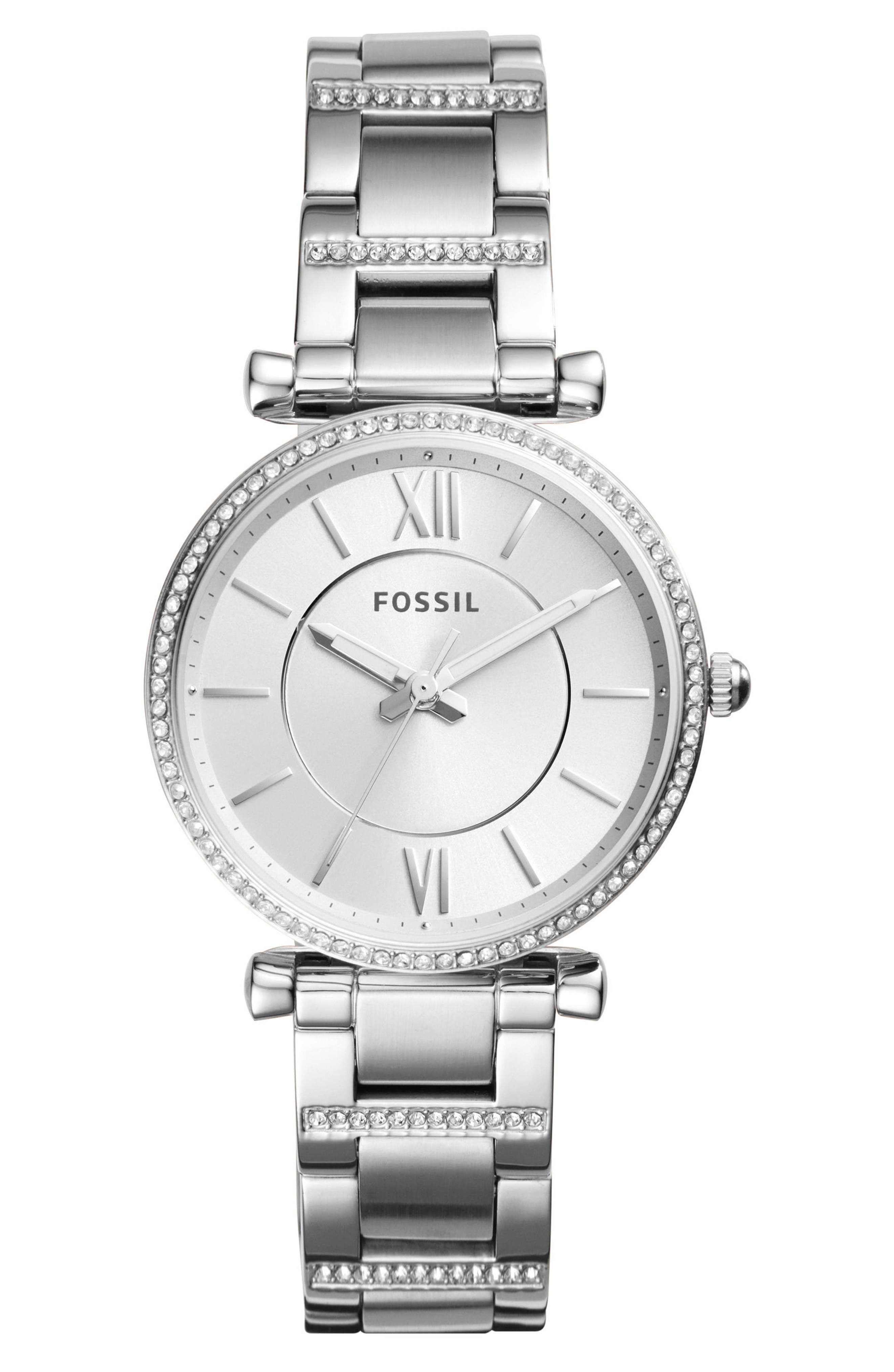 FOSSIL, Carlie T-Bar Crystal Bracelet Watch, 35mm, Main thumbnail 1, color, SILVER