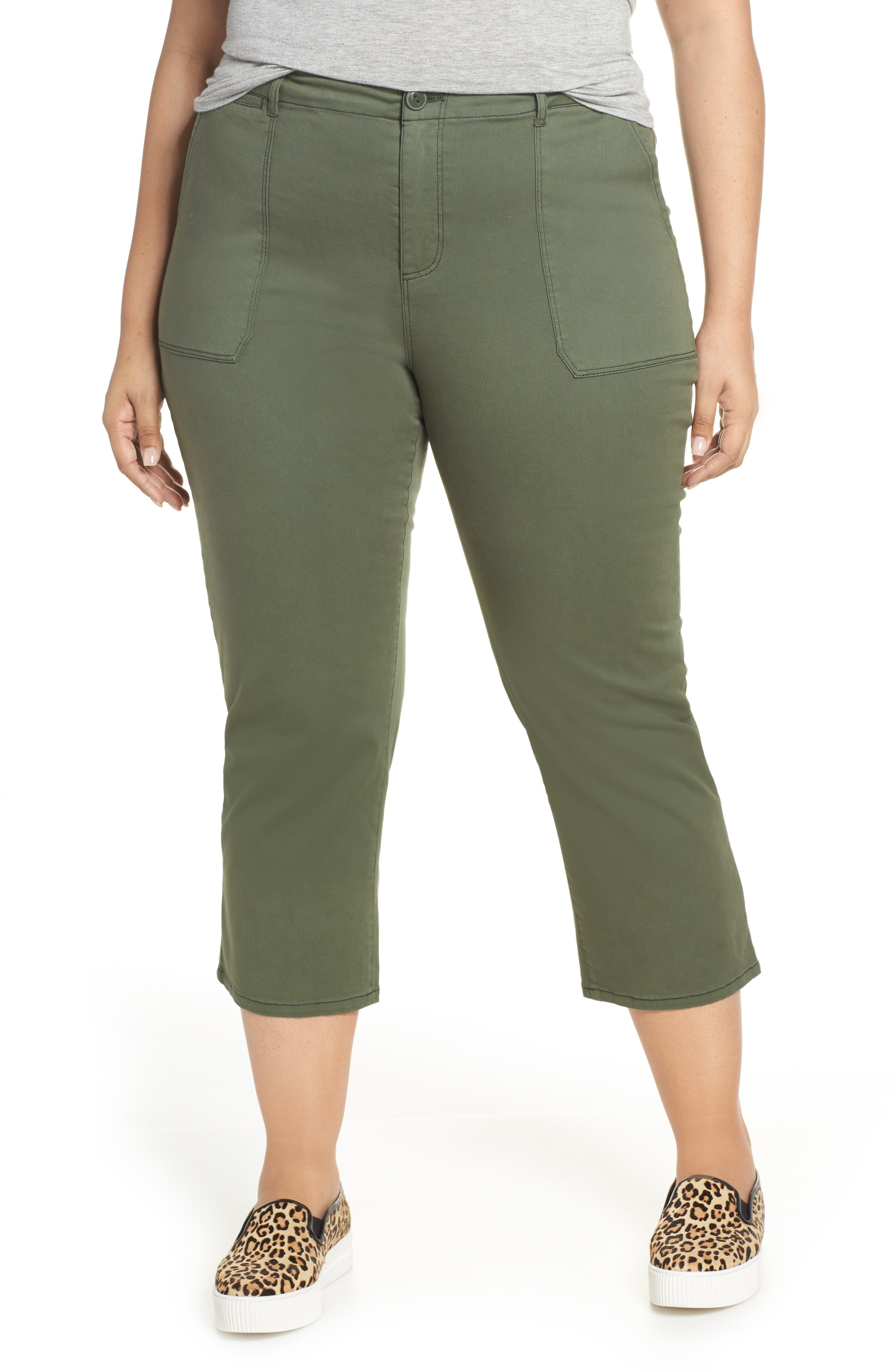 SANCTUARY Peace Crop Chino Pants, Main, color, PEACE GREEN