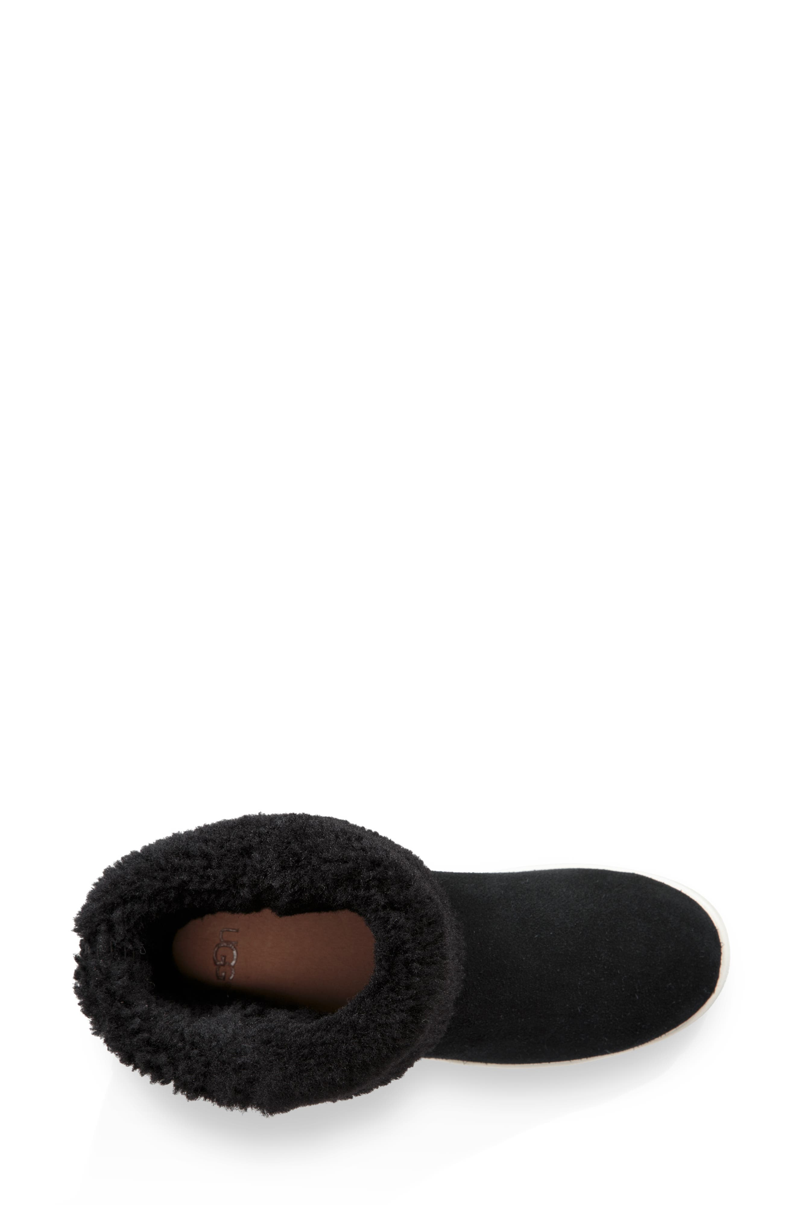 UGG<SUP>®</SUP>, Mika Classic Genuine Shearling Sneaker, Alternate thumbnail 5, color, BLACK