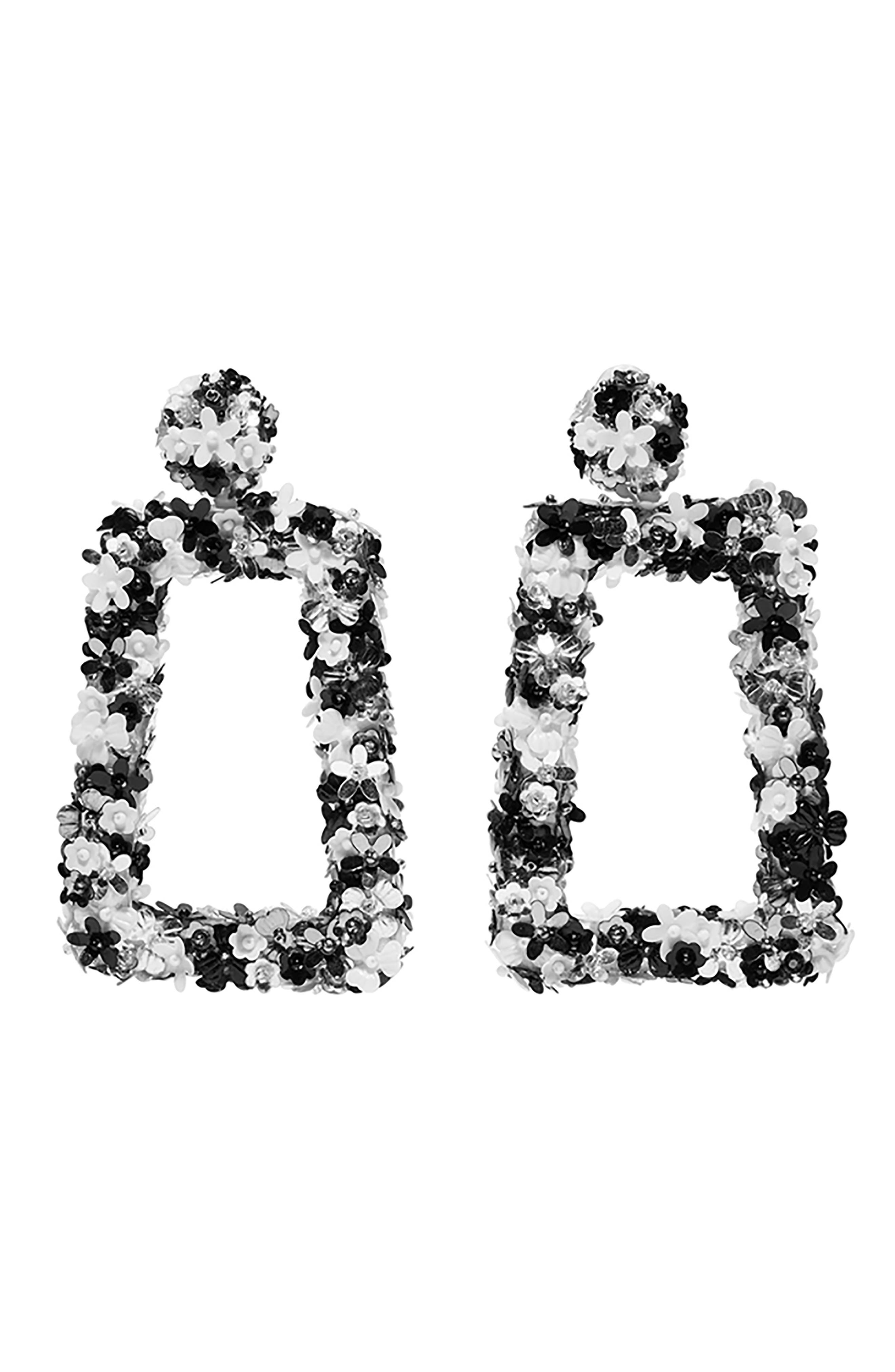 SACHIN & BABI, Noir Fleur Dusk Earrings, Main thumbnail 1, color, BLACK MULTI