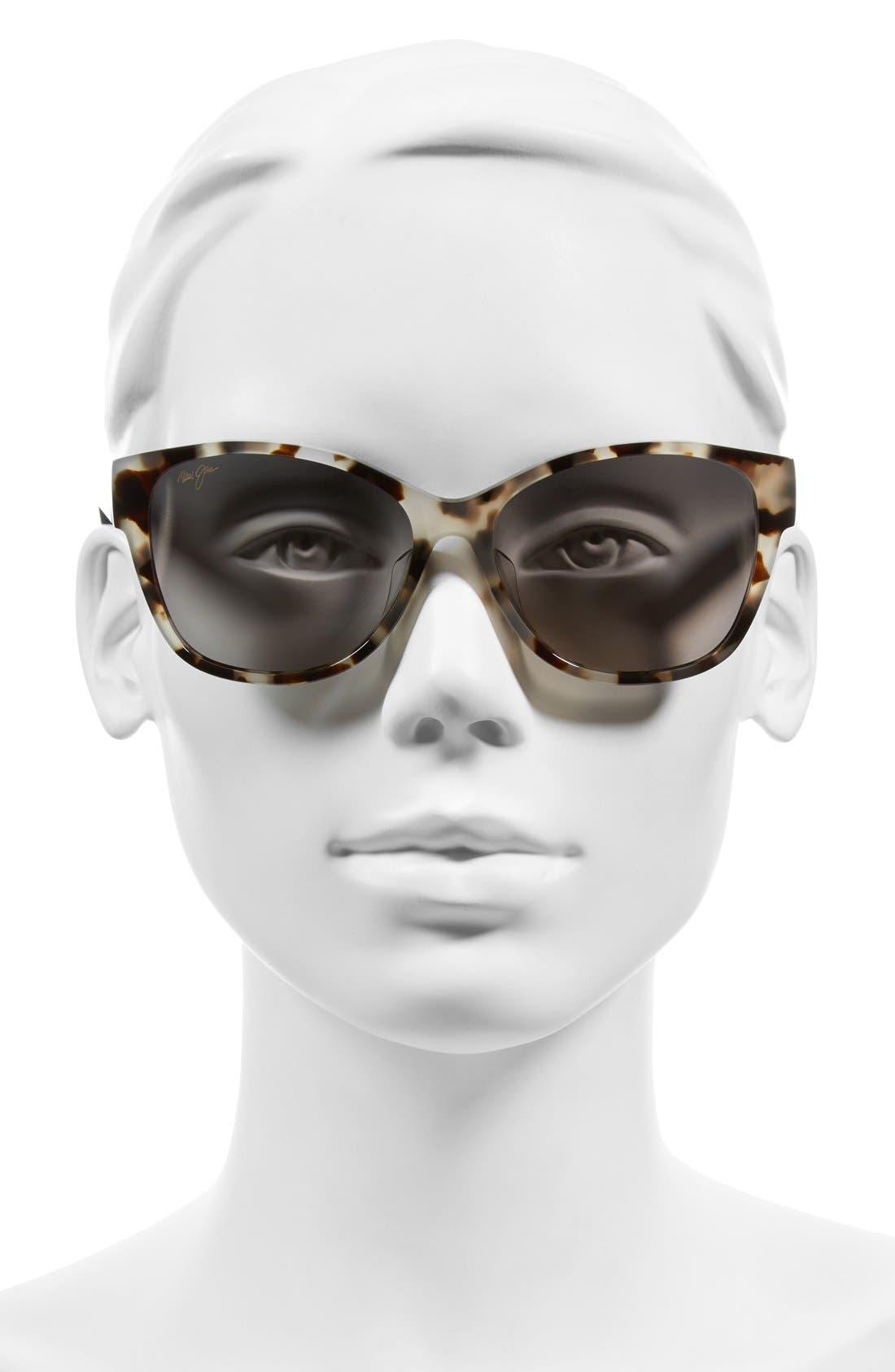 MAUI JIM, Summer Time 54mm PolarizedPlus2<sup>®</sup> Cat Eye Sunglasses, Alternate thumbnail 2, color, WHITE TOKYO TORTOISE/ GREY