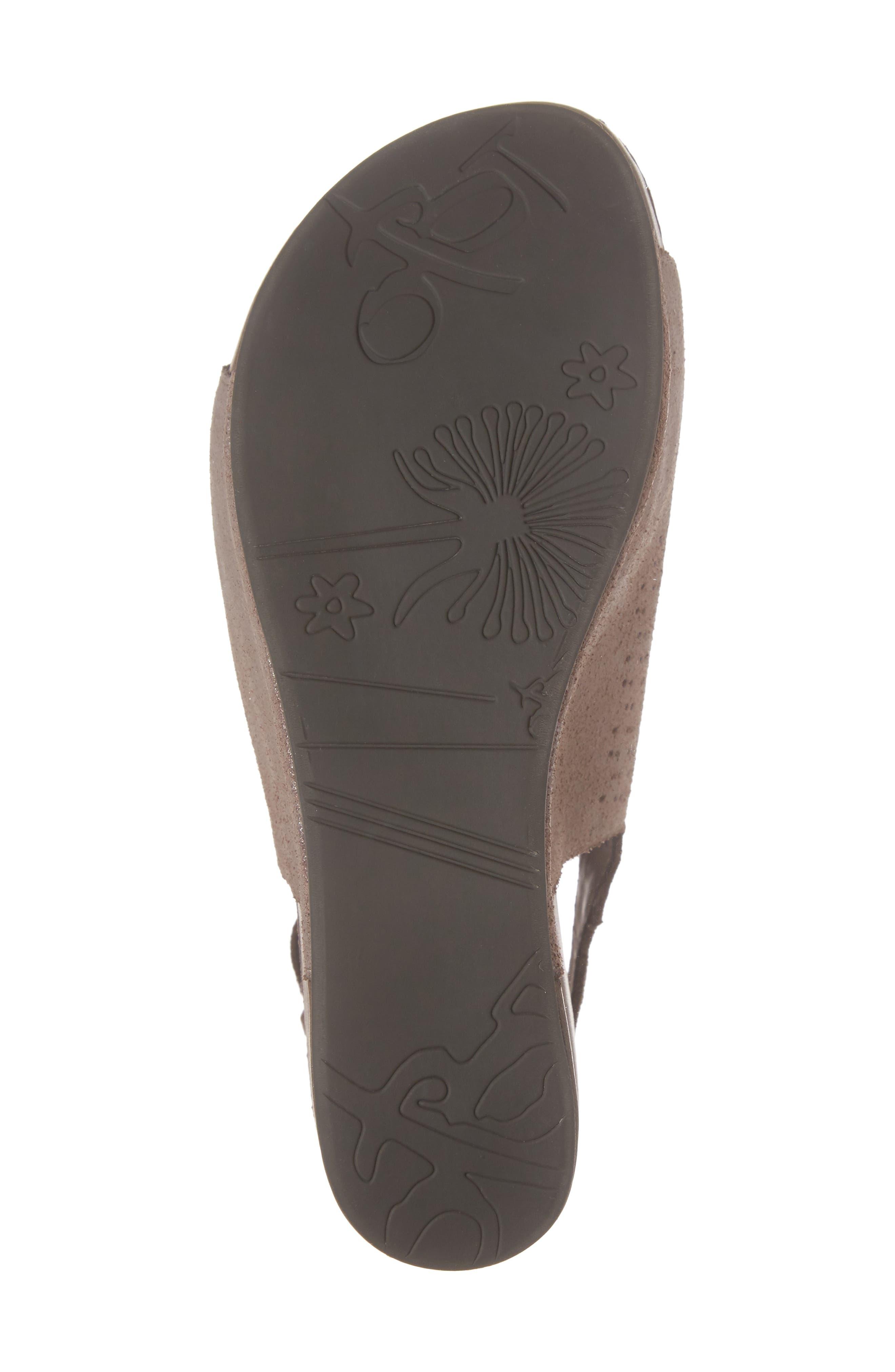 OTBT, Jaunt Platform Wedge Sandal, Alternate thumbnail 6, color, GREY POWDER SUEDE