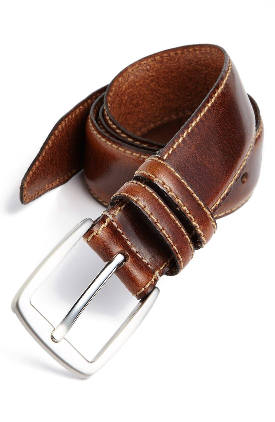 ALLEN EDMONDS, 'Yukon' Leather Belt, Main thumbnail 1, color, BROWN