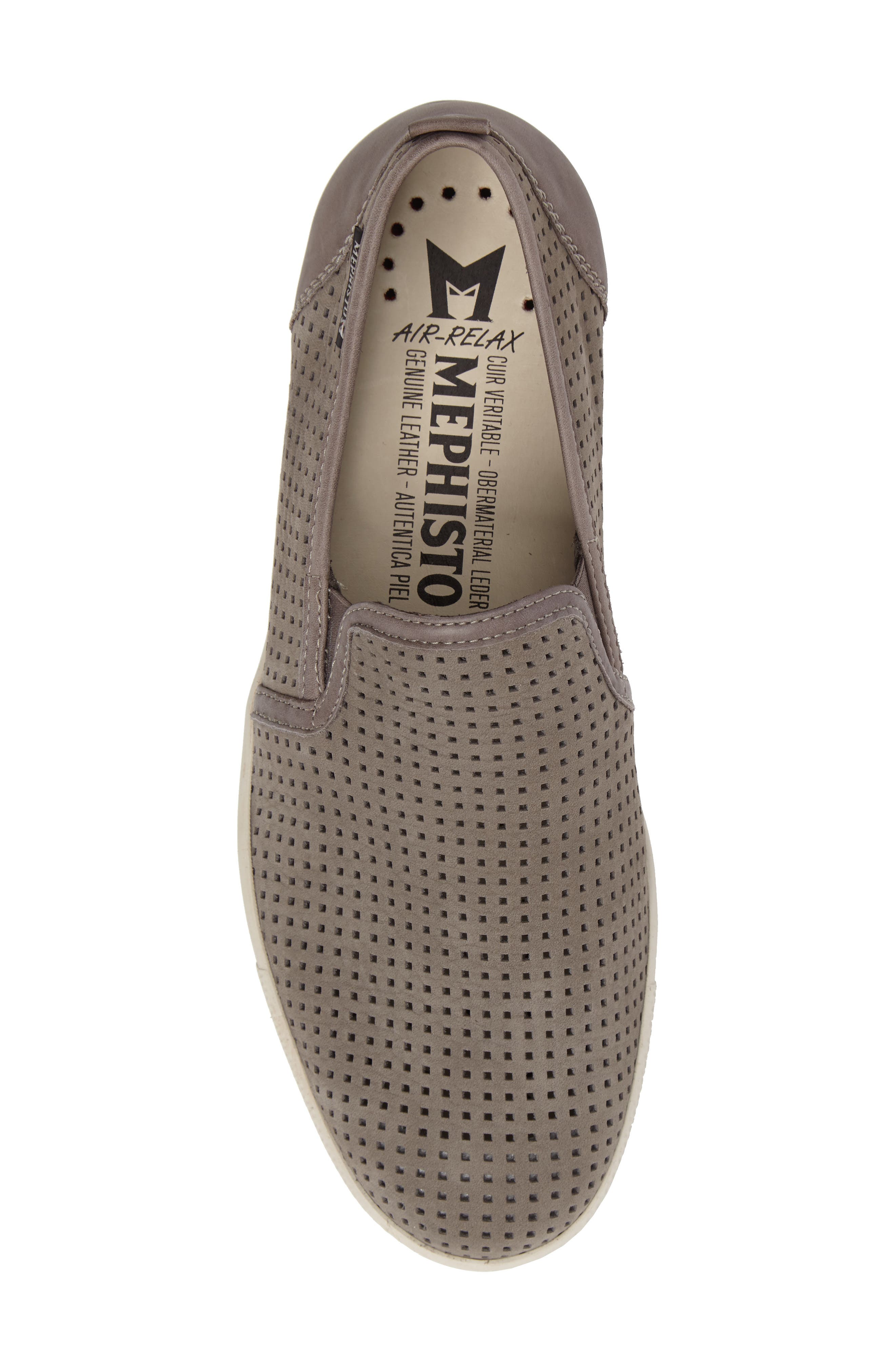 MEPHISTO, 'Ulrich' Perforated Leather Slip-On, Alternate thumbnail 5, color, LIGHT GREY SPORTBUCK