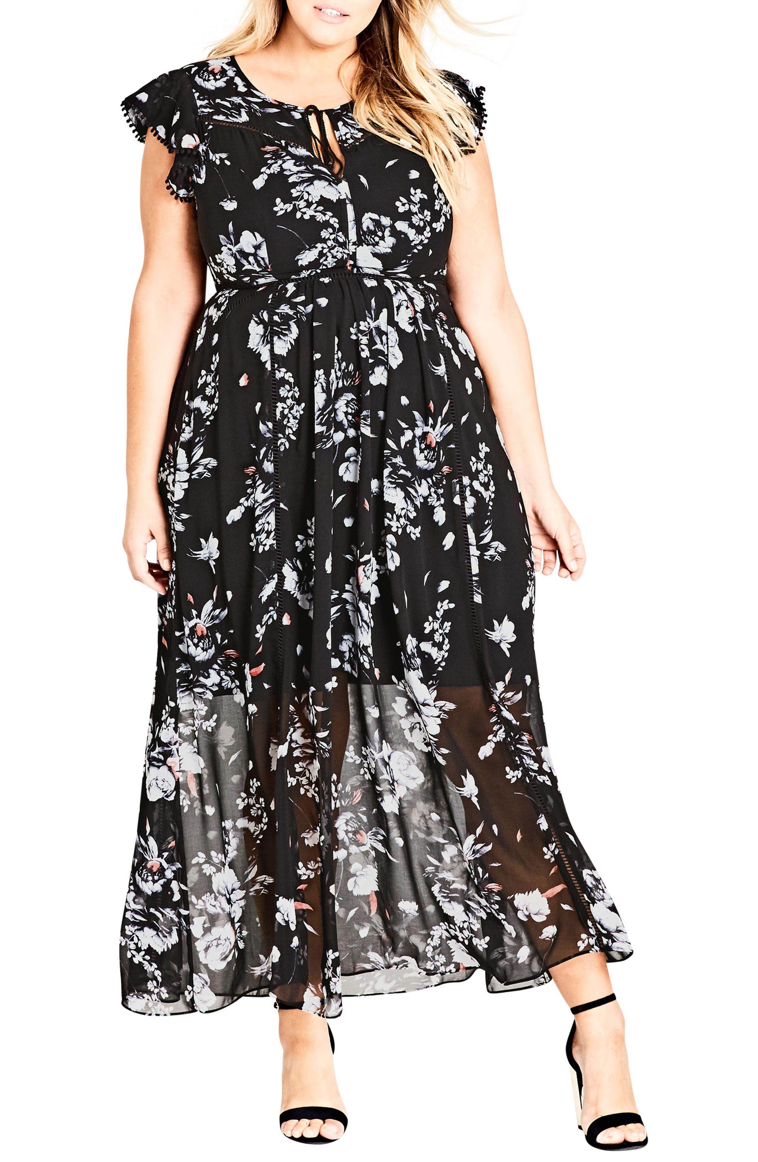 Plus Size City Chic Flutter Rose Maxi Dress, Black