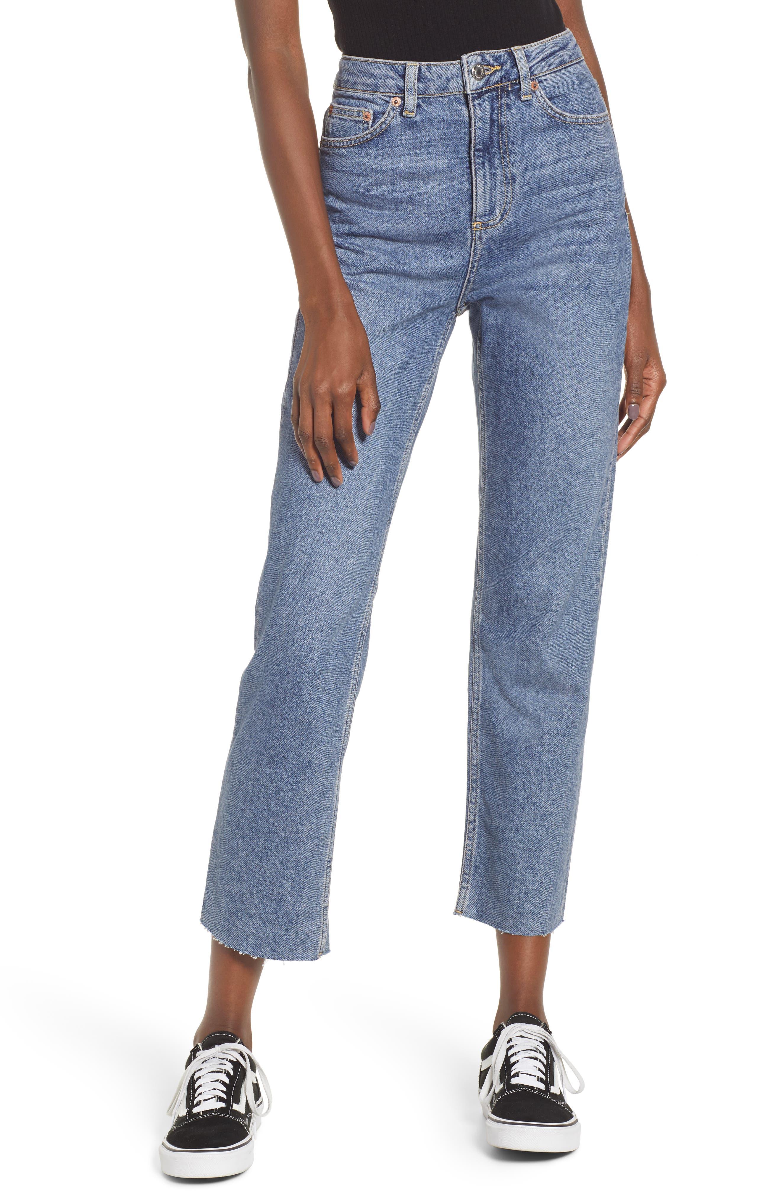 TOPSHOP, Raw Hem Straight Leg Jeans, Main thumbnail 1, color, MID BLUE