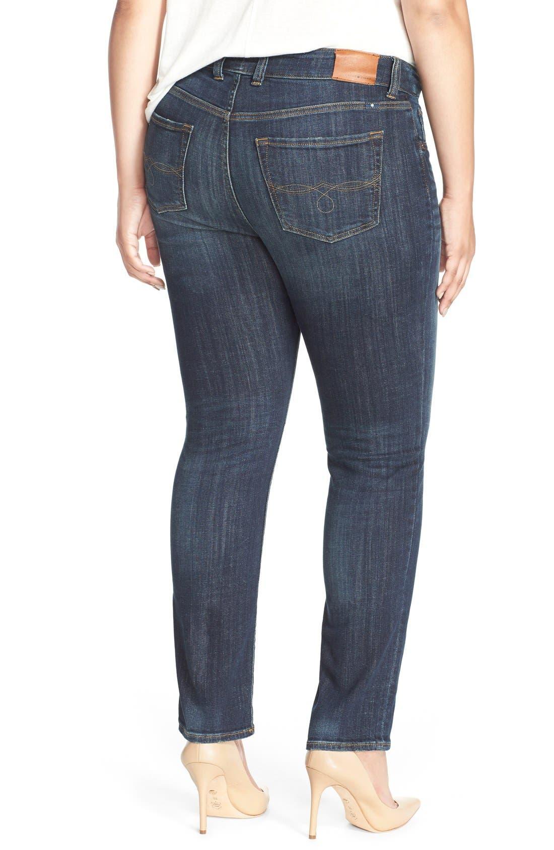 LUCKY BRAND, Emma High Rise Stretch Straight Leg Jeans, Alternate thumbnail 5, color, TIBURON