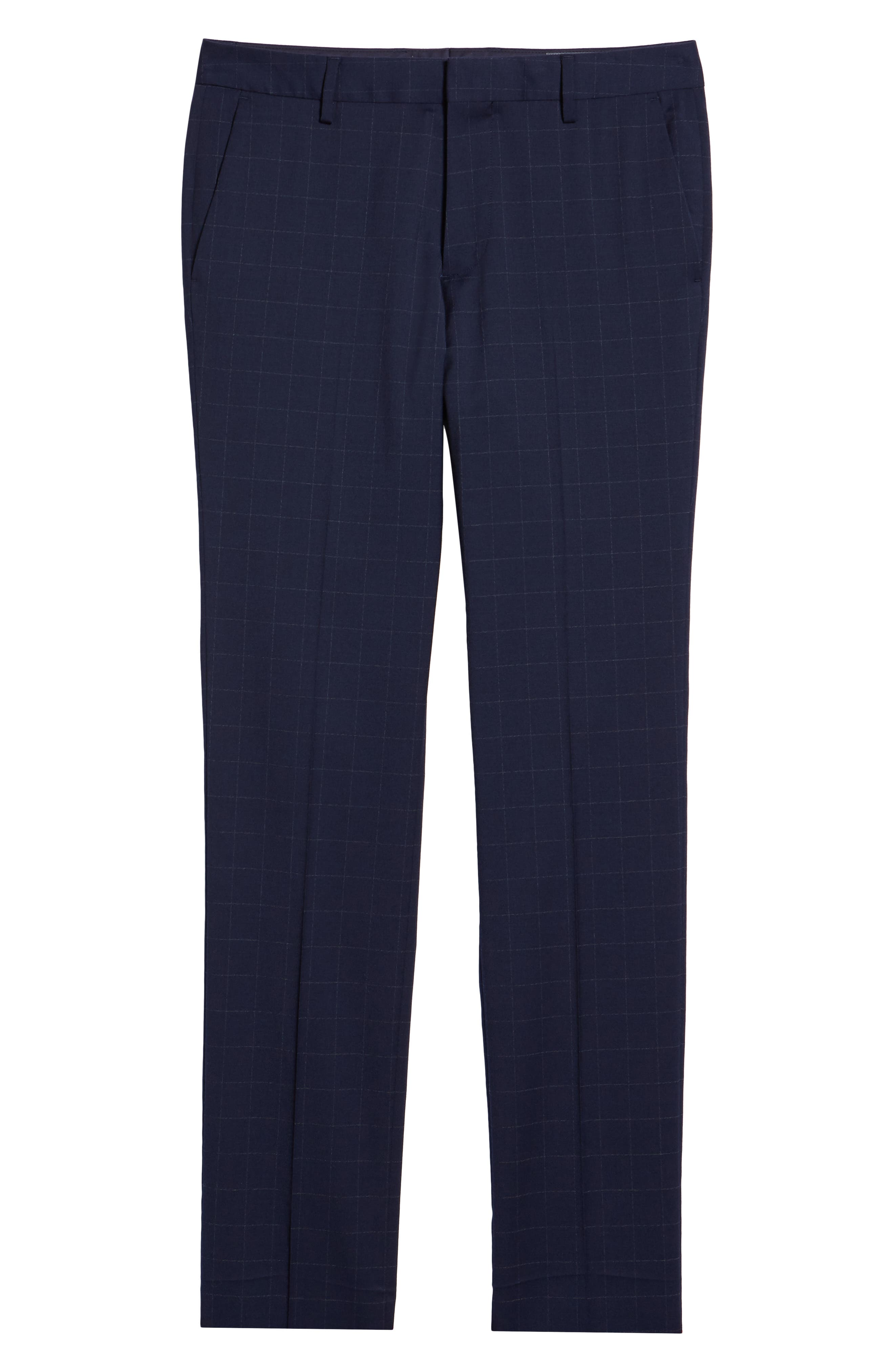 BONOBOS, Jetsetter Slim Fit Stretch Suit Pants, Alternate thumbnail 6, color, NAVY CHALK WINDOWPANE
