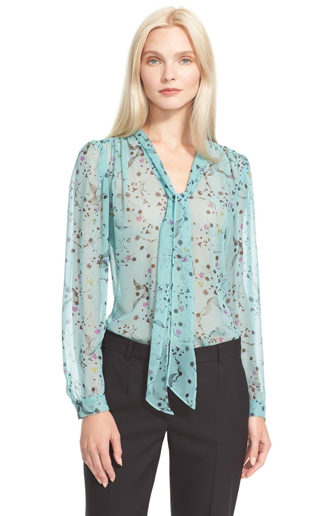REBECCA TAYLOR Floral Print Tie Neck Top, Main, color, 318