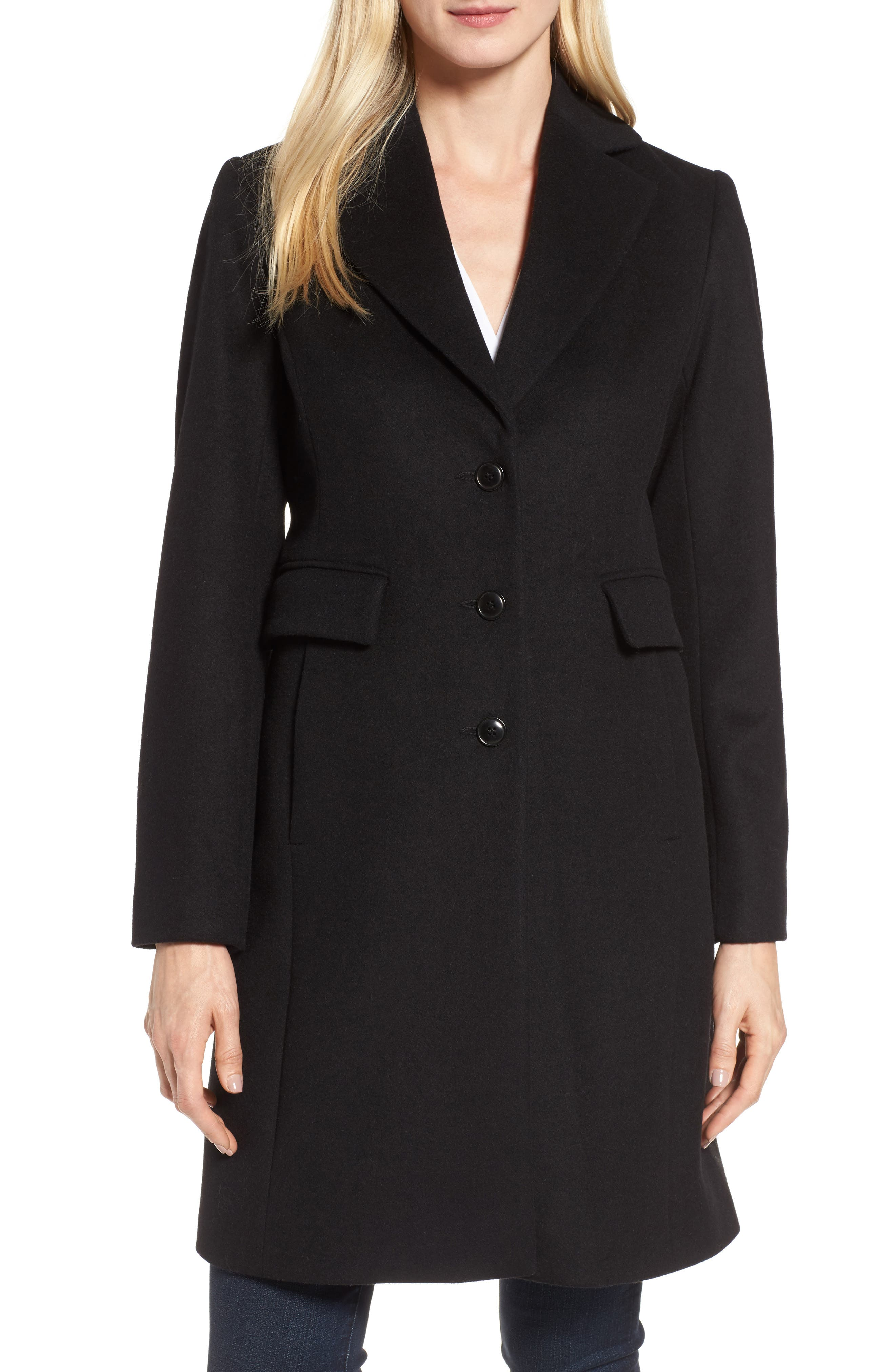 KRISTEN BLAKE Walking Coat, Main, color, BLACK