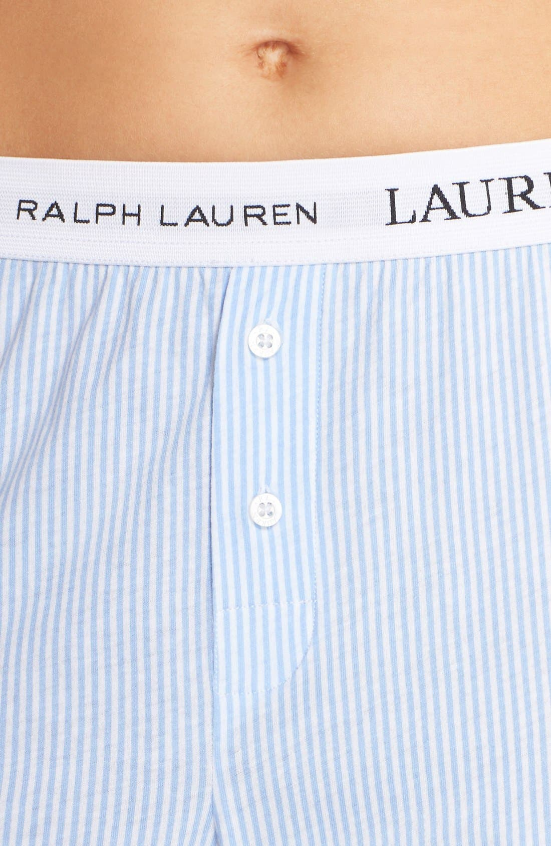 LAUREN RALPH LAUREN, Logo Waistband Lounge Pants, Alternate thumbnail 2, color, STRIPE PALE BLUE/ WHITE