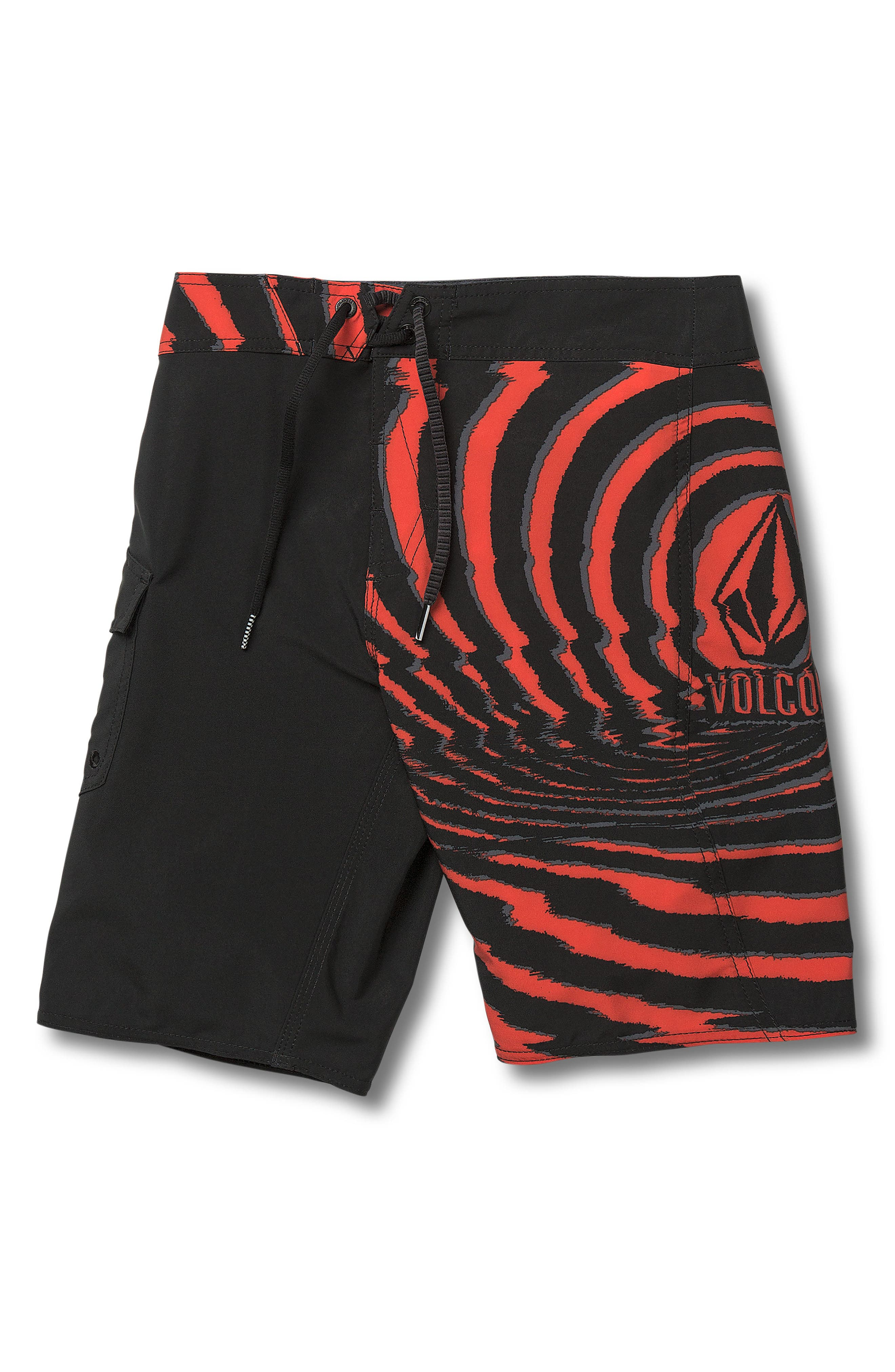 VOLCOM Lido Block Mod Board Shorts, Main, color, WHY ROCK RED