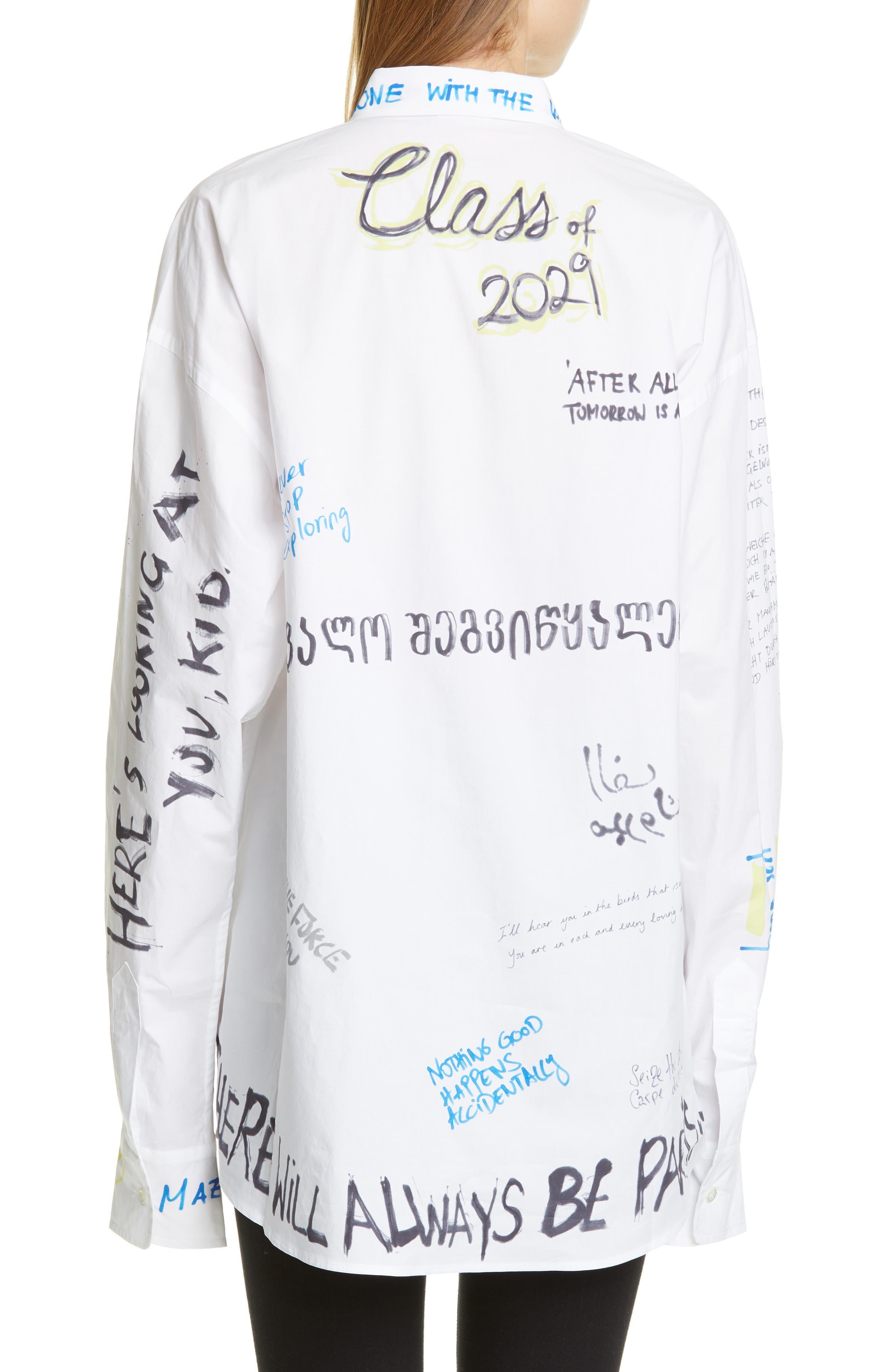 VETEMENTS, Scribble Print Oversize Shirt, Alternate thumbnail 2, color, WHITE