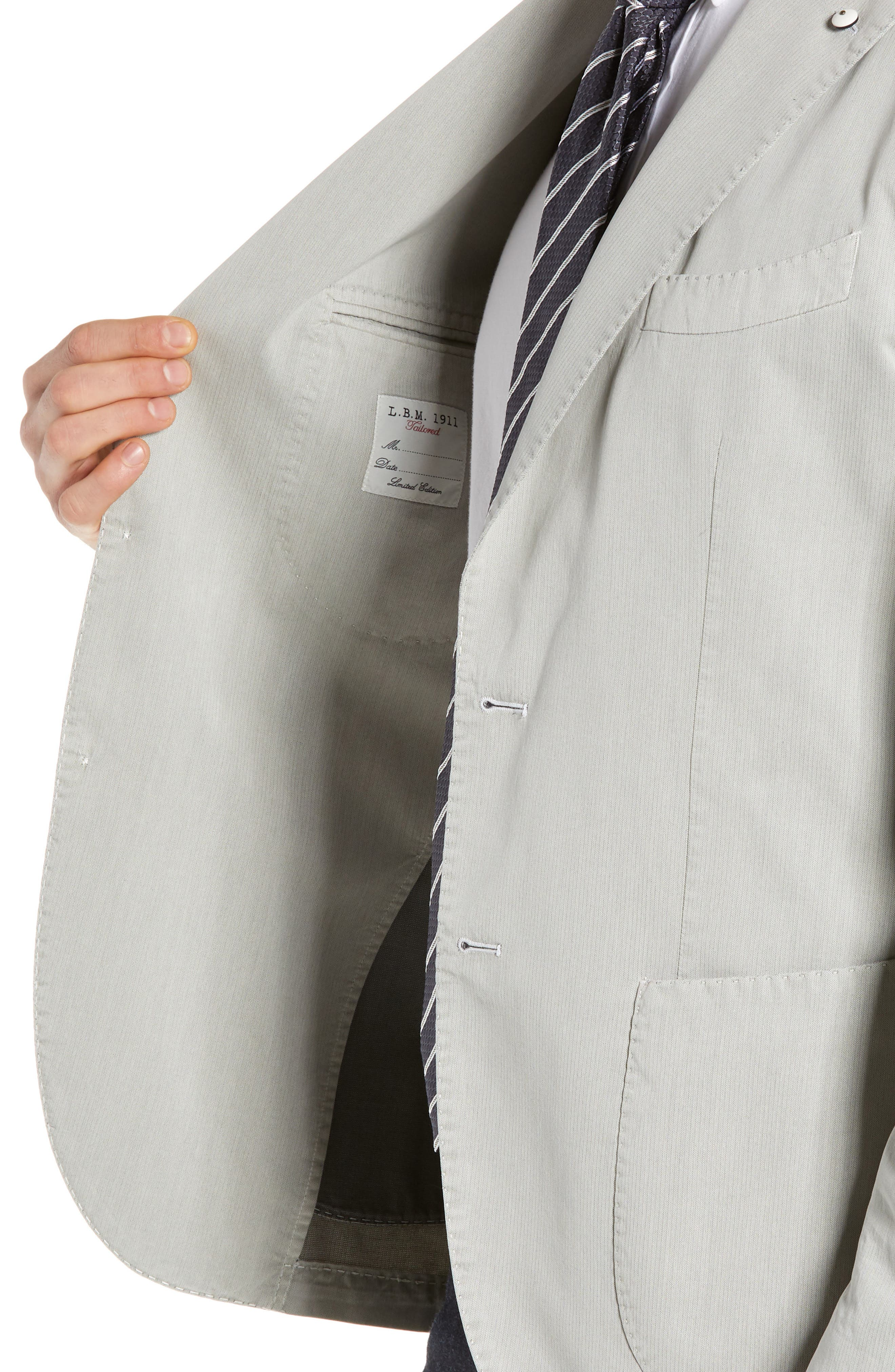 L.B.M. 1911, Trim Fit Herringbone Cotton & Silk Sport Coat, Alternate thumbnail 4, color, LIGHT/ PASTEL GREY
