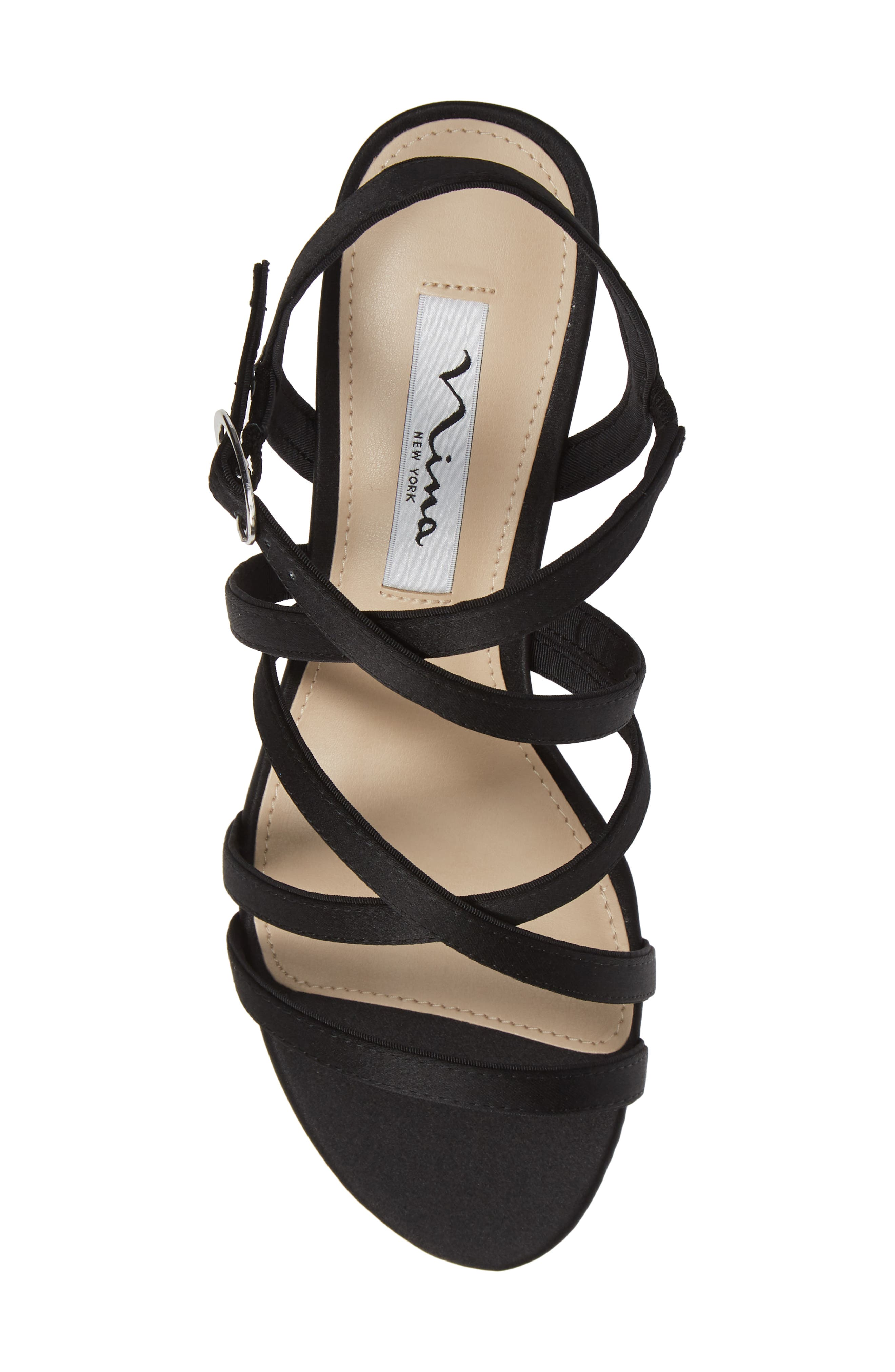 NINA, Genaya Strappy Evening Sandal, Alternate thumbnail 5, color, BLACK SATIN