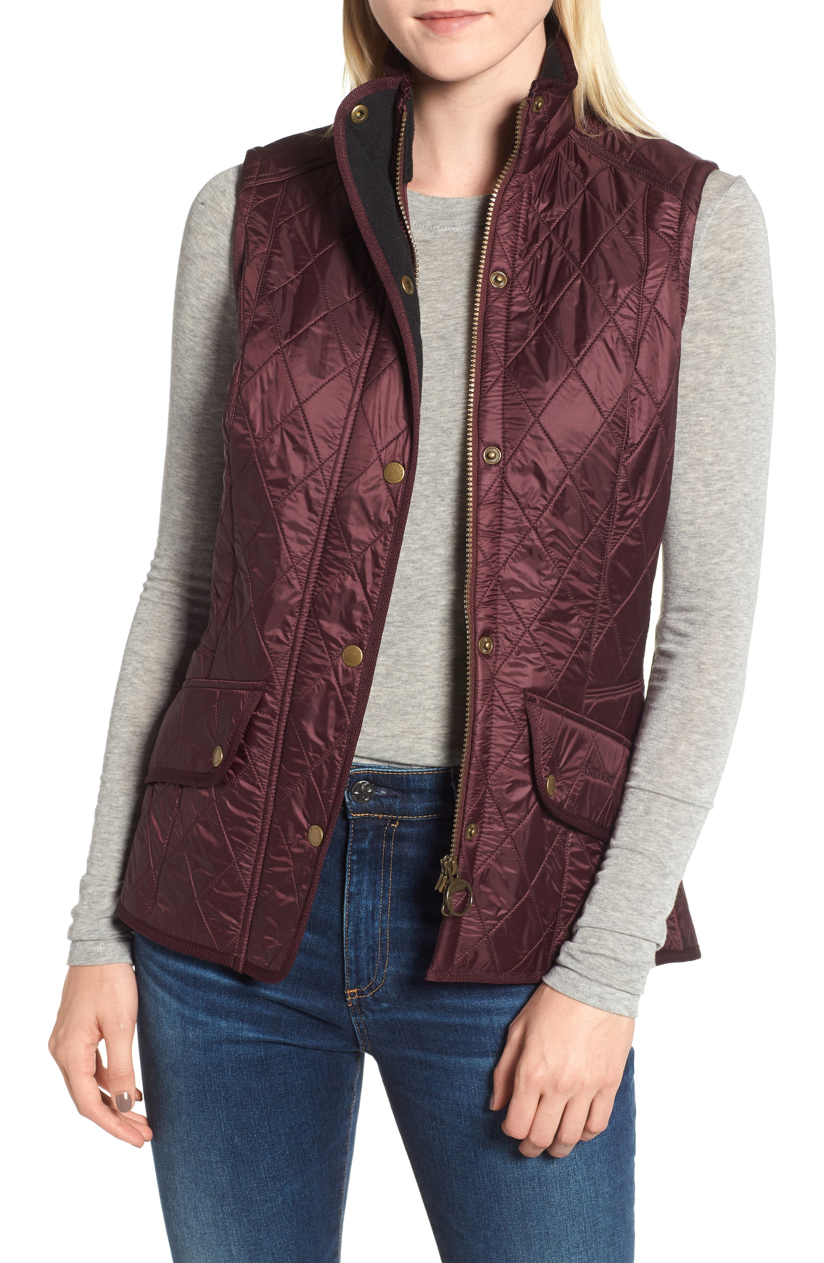 BARBOUR, 'Cavalry' Quilted Vest, Main thumbnail 1, color, AUBERGINE/ NAVY