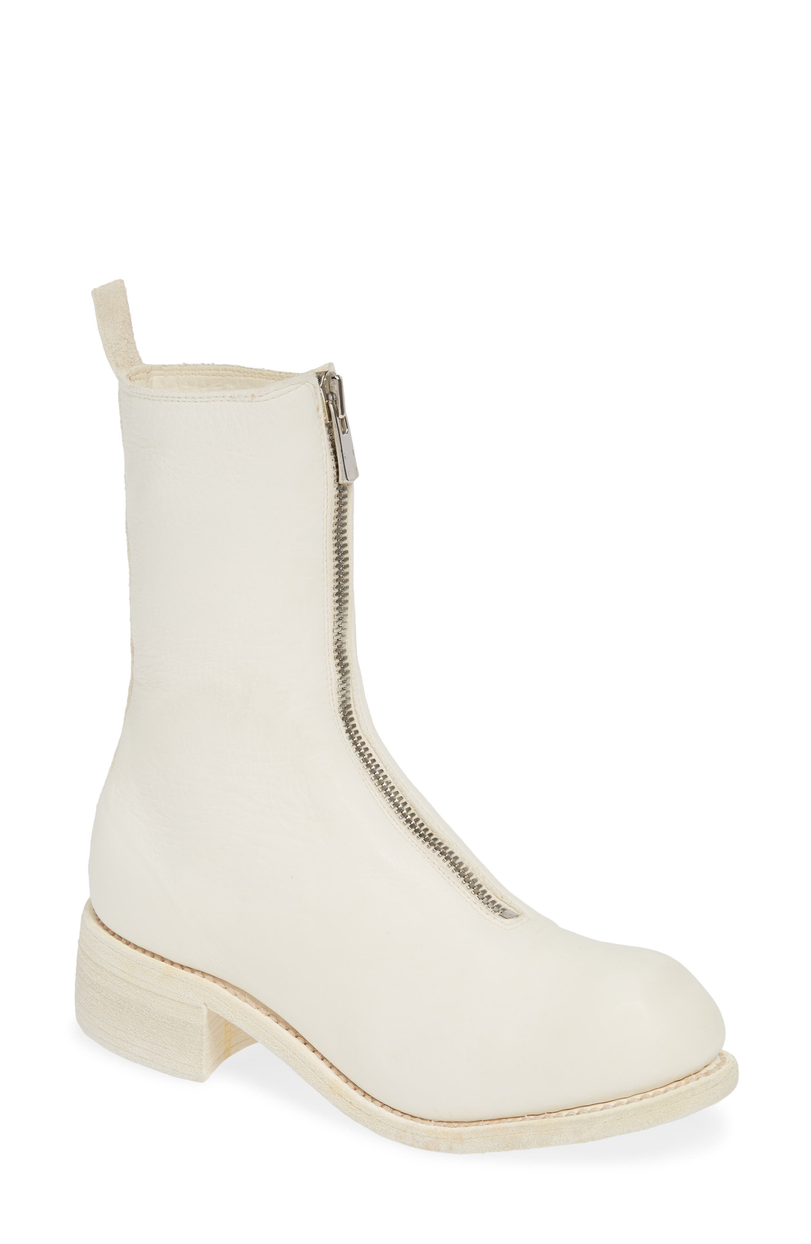GUIDI Front Zip Boot, Main, color, WHITE