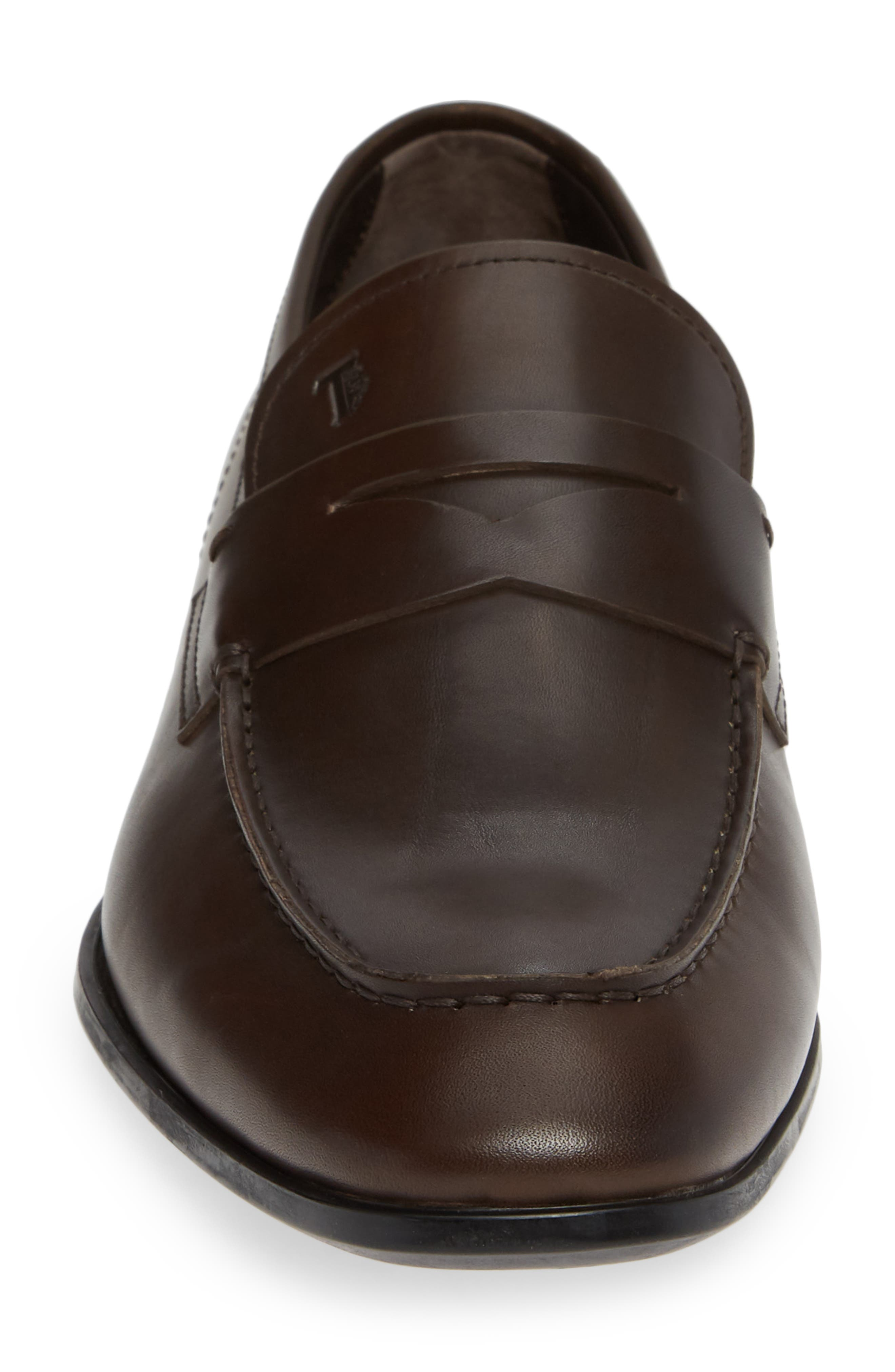 TOD'S, Mocassino Penny Loafer, Alternate thumbnail 4, color, DARK BROWN