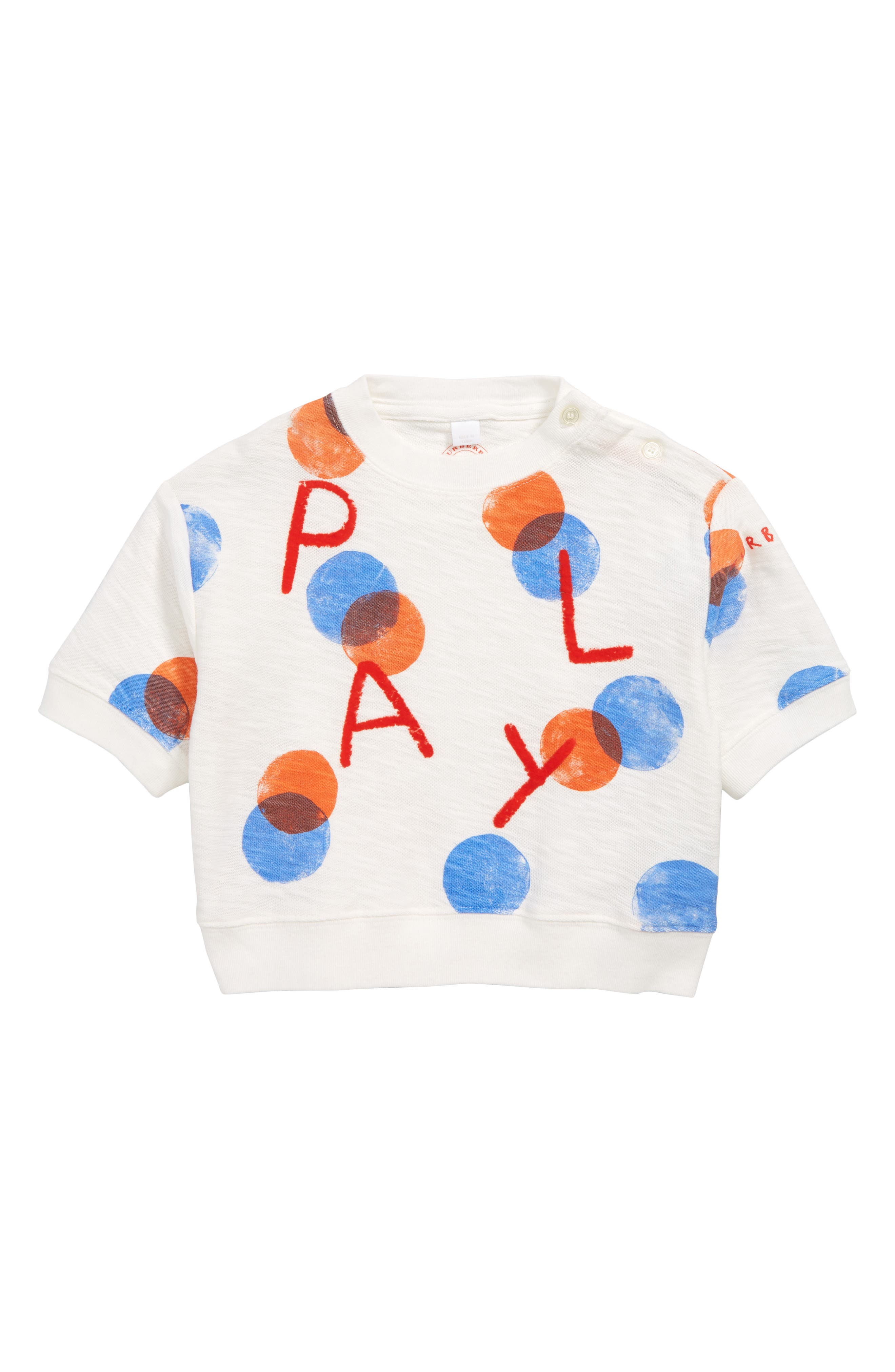 BURBERRY, Play Print Sweater, Main thumbnail 1, color, WHITE