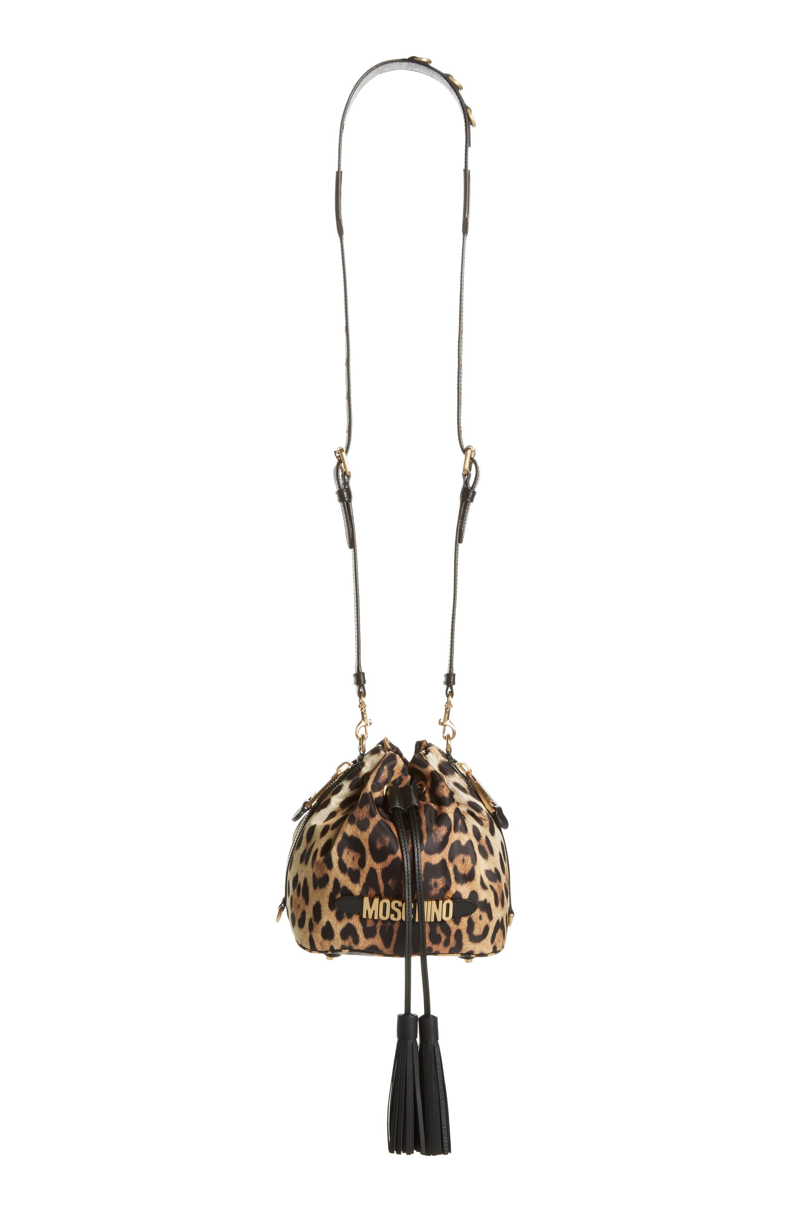 MOSCHINO, Leopard Print Nylon Convertible Bucket Bag, Alternate thumbnail 2, color, BLACK