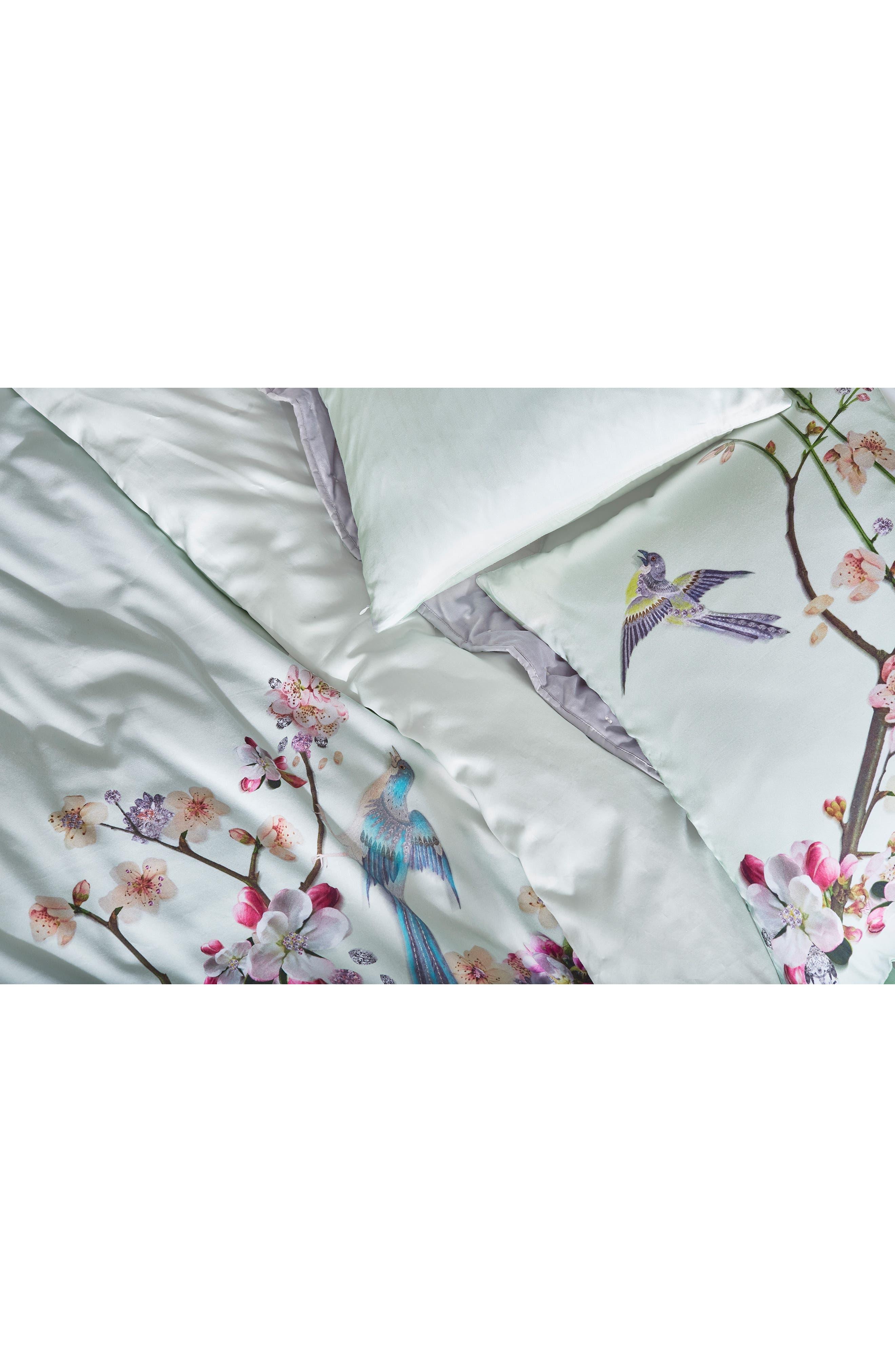 TED BAKER LONDON, Cherry Blossom Print Duvet Cover & Sham Set, Alternate thumbnail 2, color, MINT