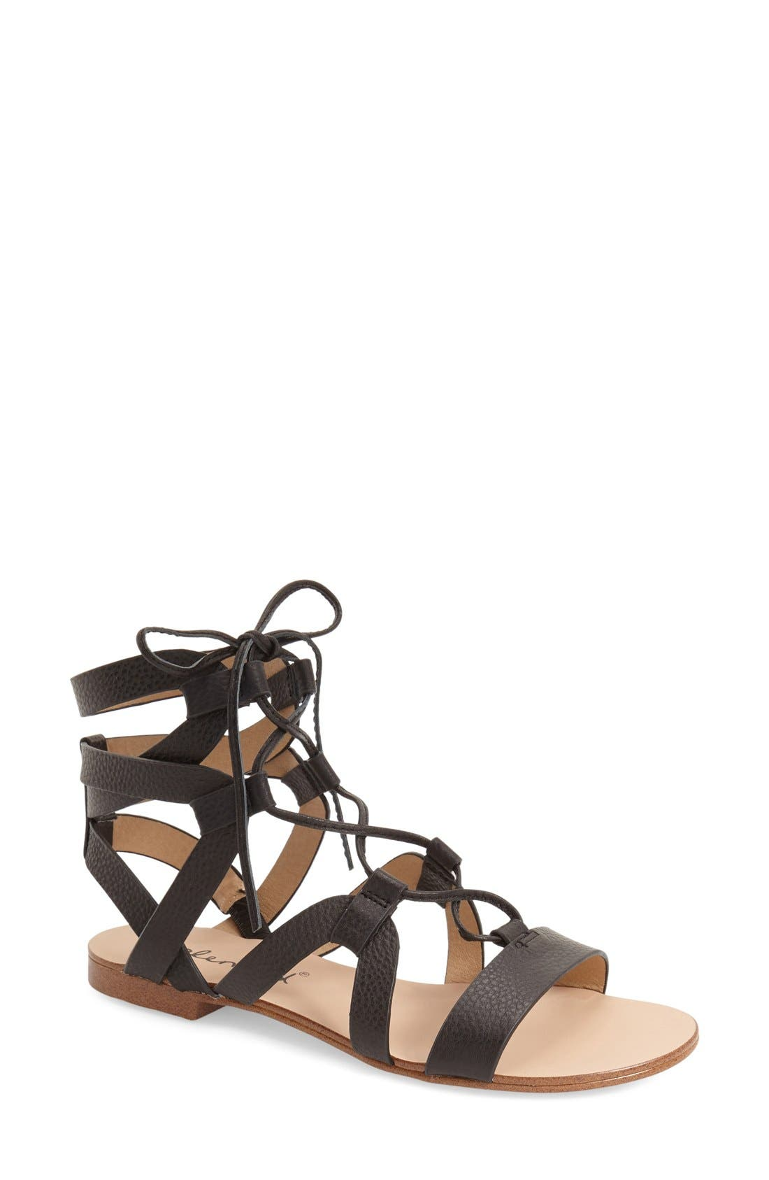 SPLENDID, 'Cameron' Lace-Up Sandal, Main thumbnail 1, color, 001