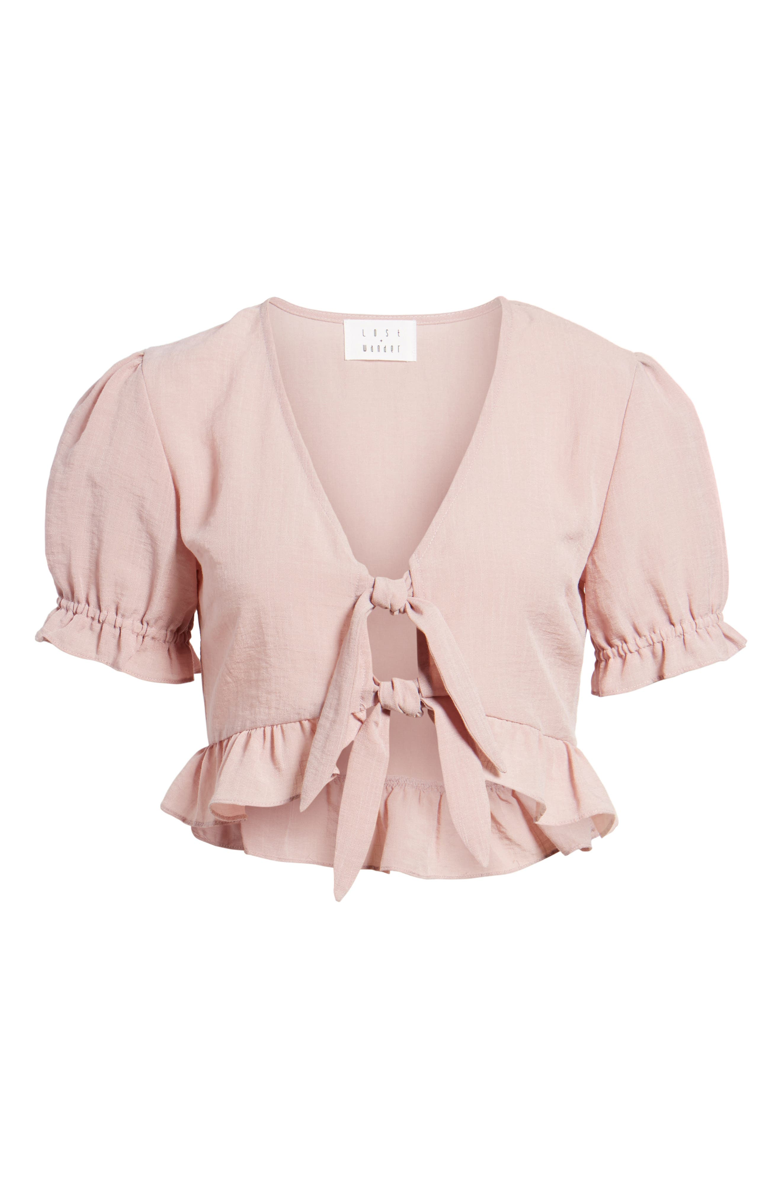 LOST + WANDER, Peony Ruffle Tie Front Crop Top, Alternate thumbnail 6, color, 681