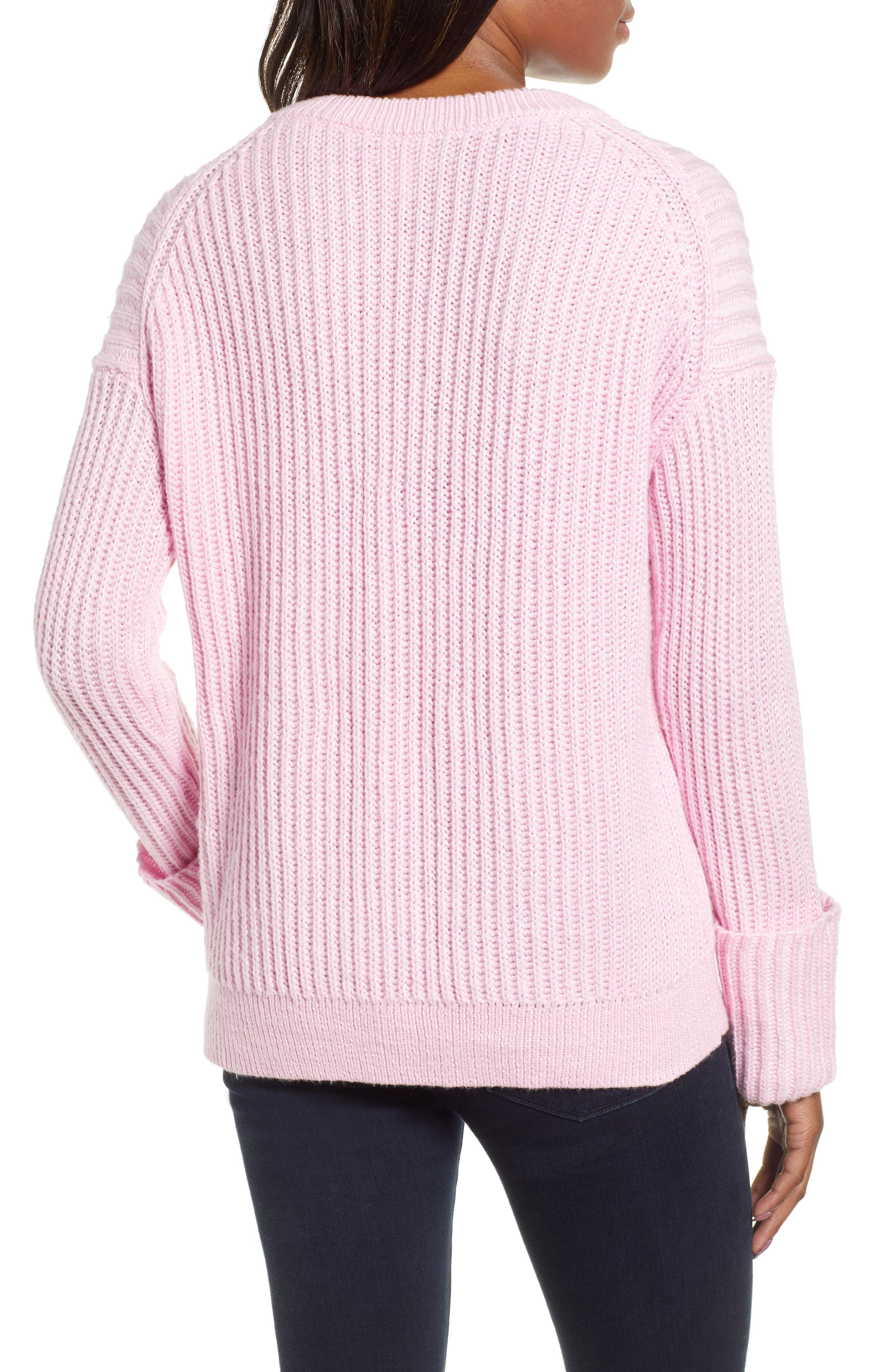 CASLON<SUP>®</SUP>, Cuffed Sleeve Shaker Sweater, Alternate thumbnail 2, color, PINK FLOWER