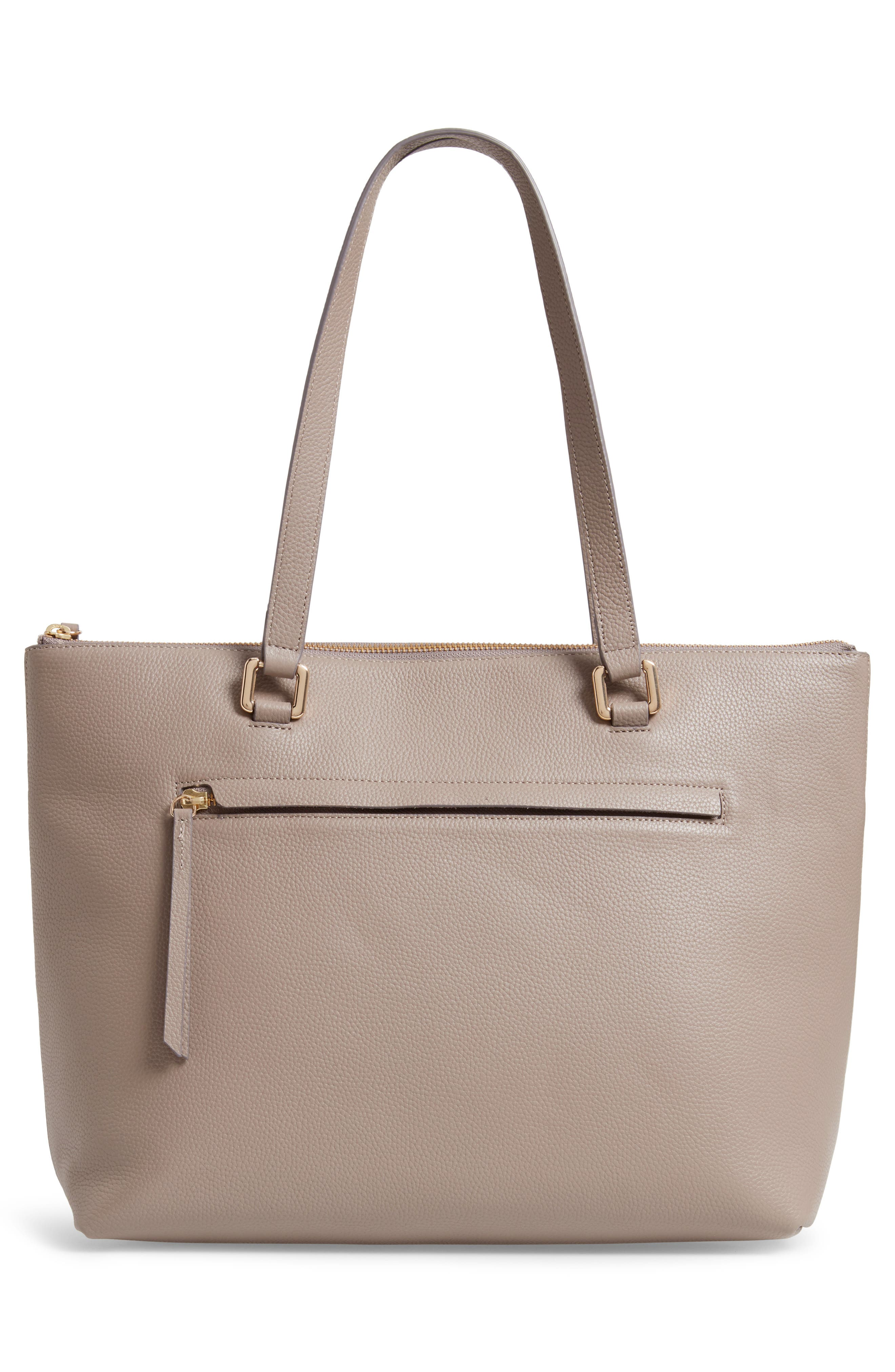 NORDSTROM, Lexa Pebbled Leather Tote, Alternate thumbnail 4, color, GREY TAUPE