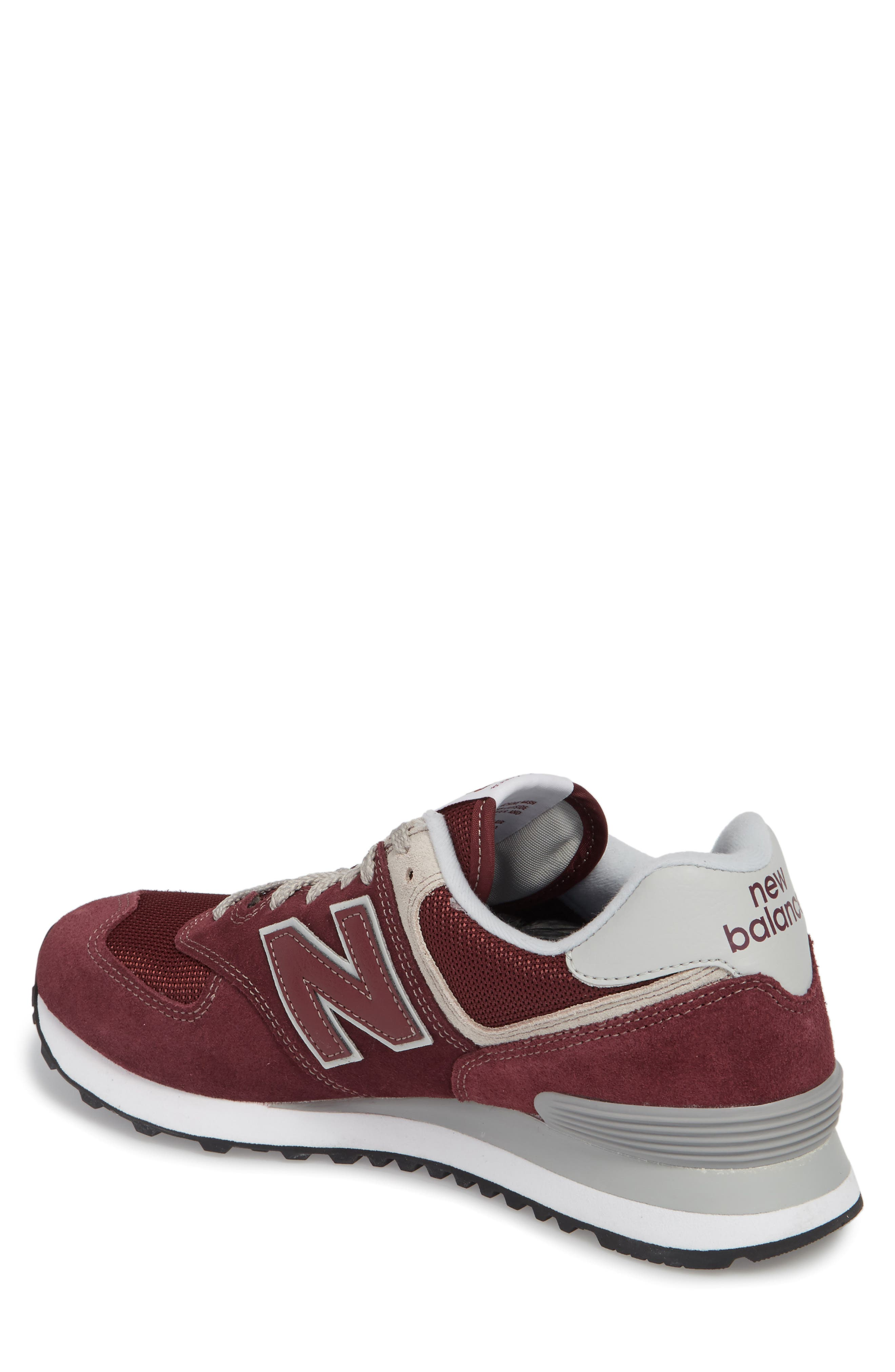 NEW BALANCE, 574 Classic Sneaker, Alternate thumbnail 2, color, BURGUNDY