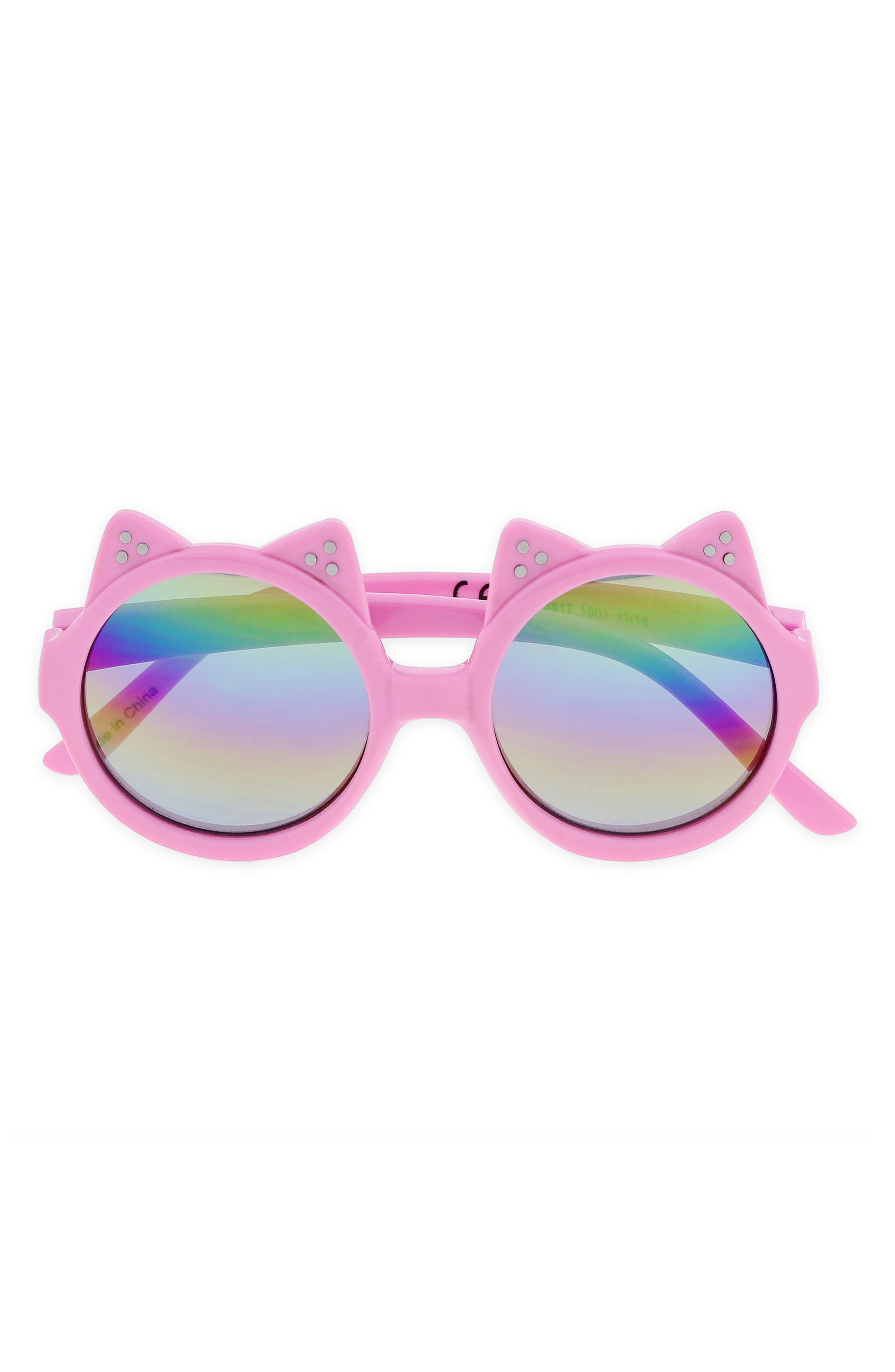 CAPELLI NEW YORK Rainbow Lens Cat Ear Round Sunglasses, Main, color, MULTI COMBO